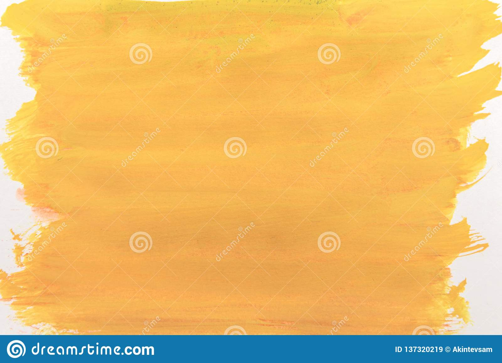 Canvas covered with bright yellow paint. abstraction