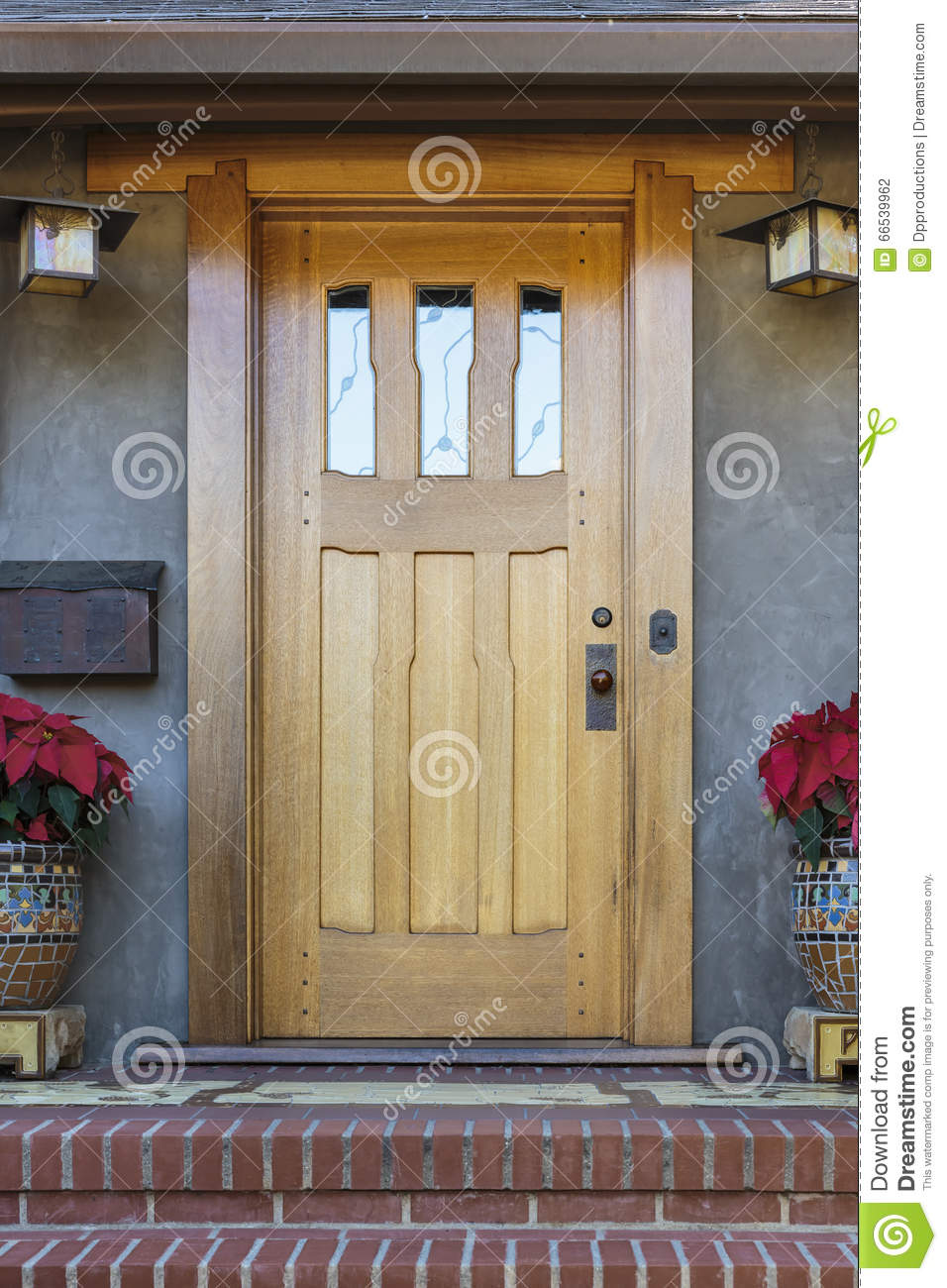 Solid wood front door stock photo image of style holiday for Wooden house front doors