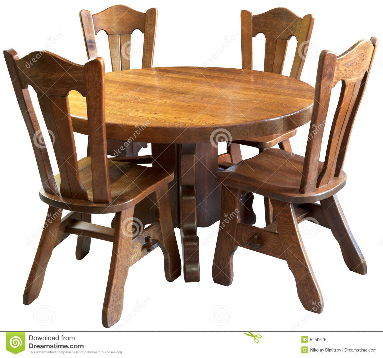 solid wood kitchen table set isolated royalty free stock