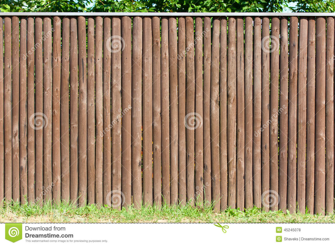 Solid Wood Picket Fence Stock Photo