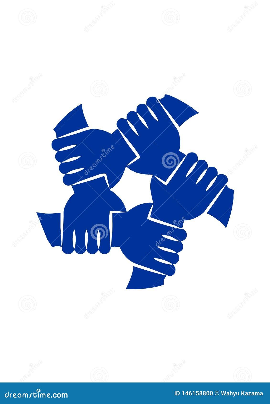 Solidarietà unita delle mani isolata nel vettore bianco di ilustration del fondo