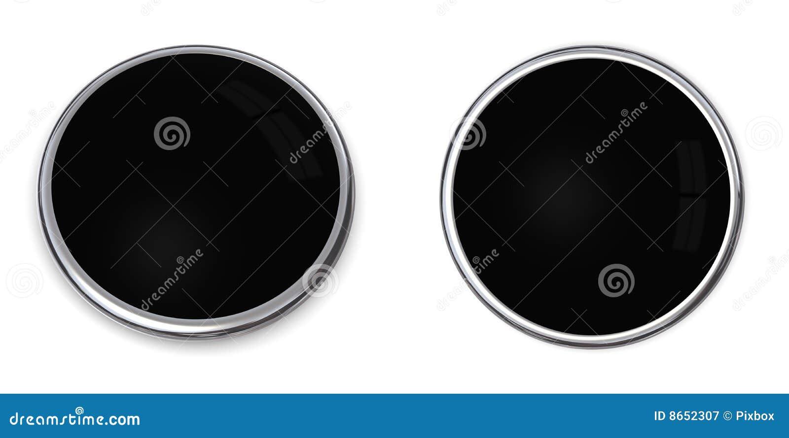 Solide noir du bouton 3d