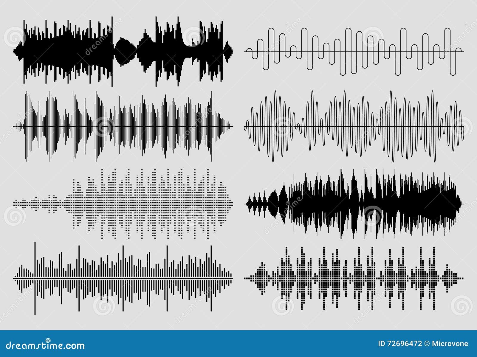 Solider Musikwellenvektorsatz Musikalischer Impuls Oder ...