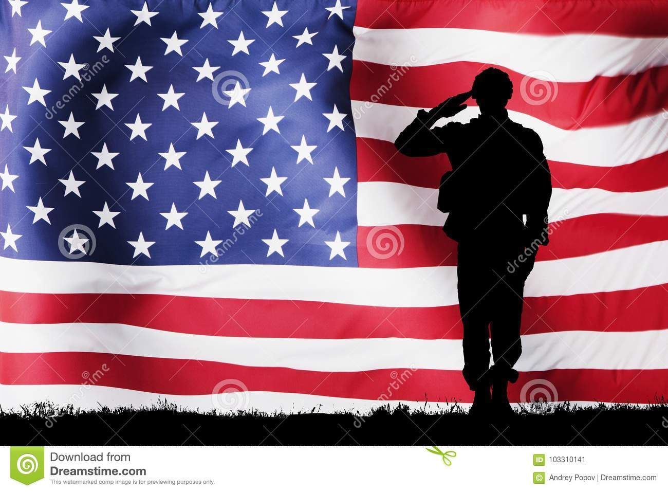 Solider Silhouette With American Flag