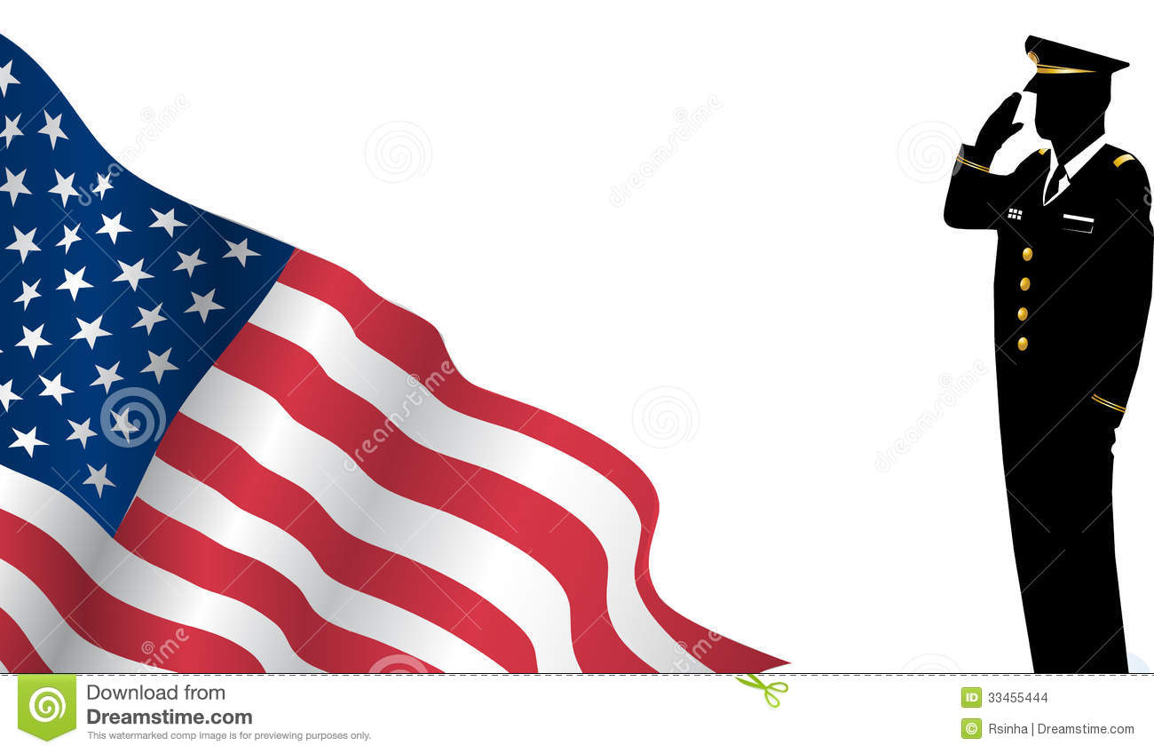 Us Flag Military Soldier Saluting In Silhouette Cartoon