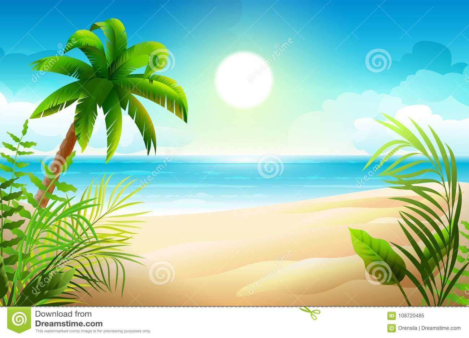 Solig dag på den tropiska sandiga stranden Palmträd och havsparadisferier