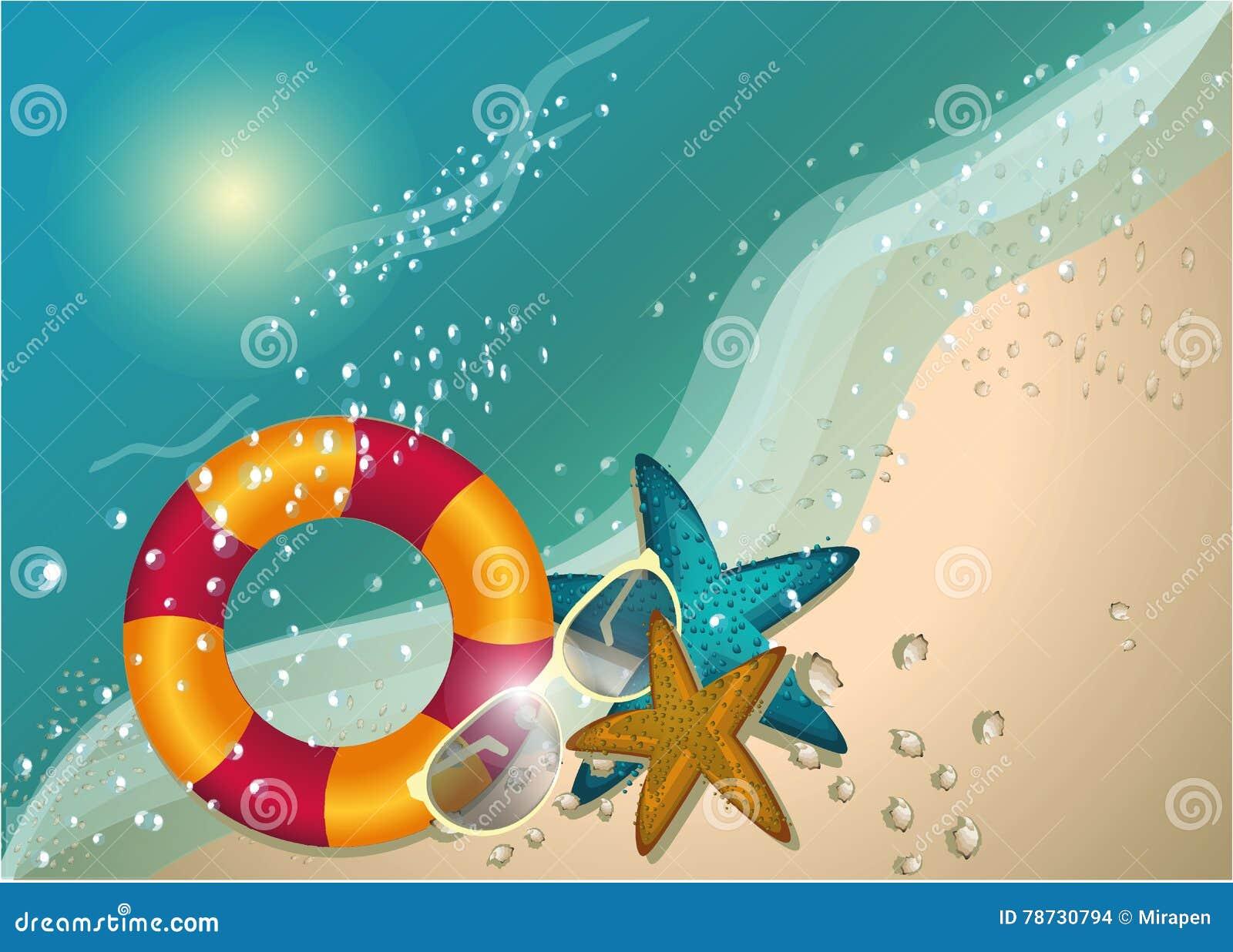 Soligt begrepp för sommarstrand, tecken, vektorbakgrund, illustration