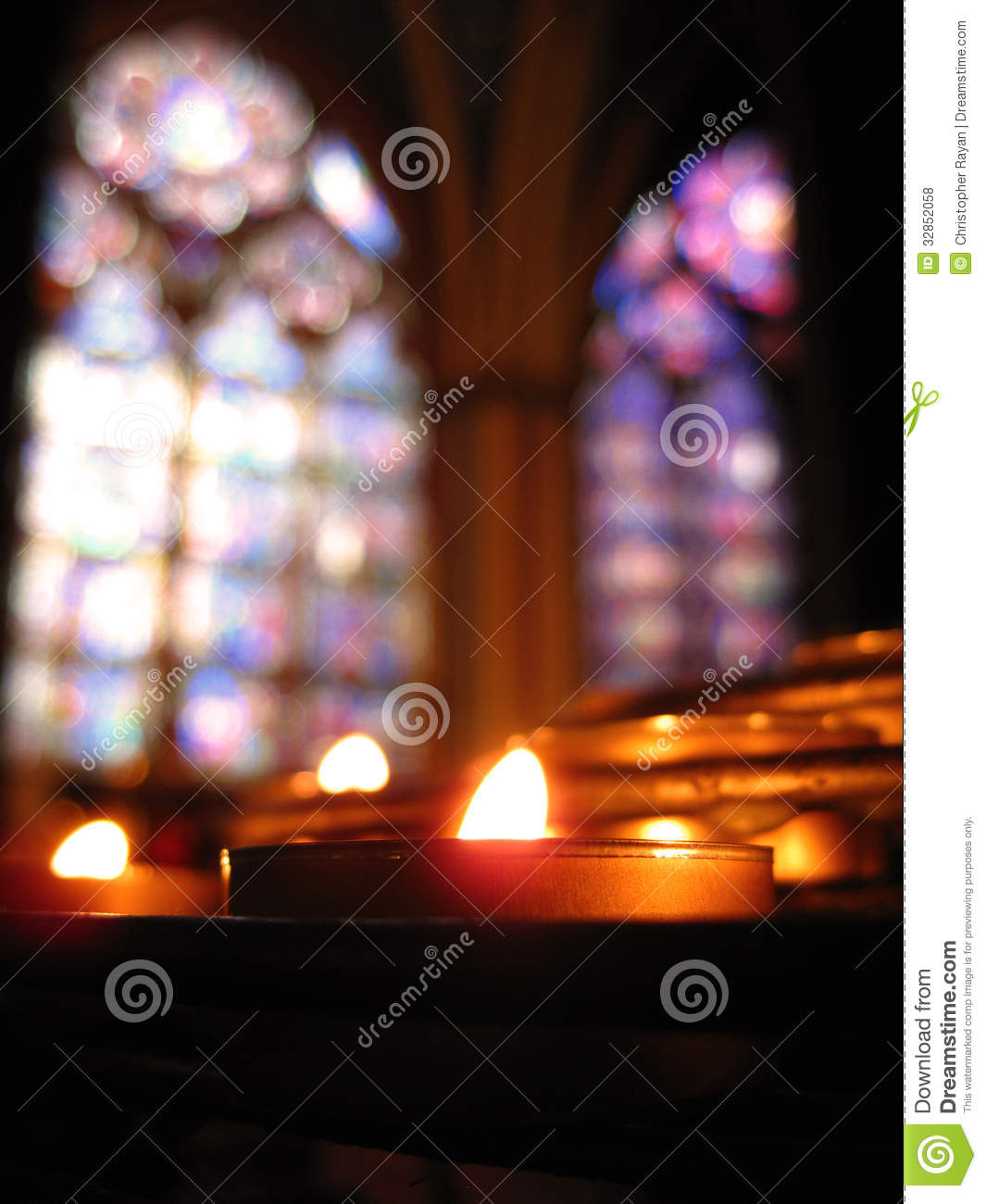 Solitary Candle & Stained Glass - Notre Dame Royalty Free ...