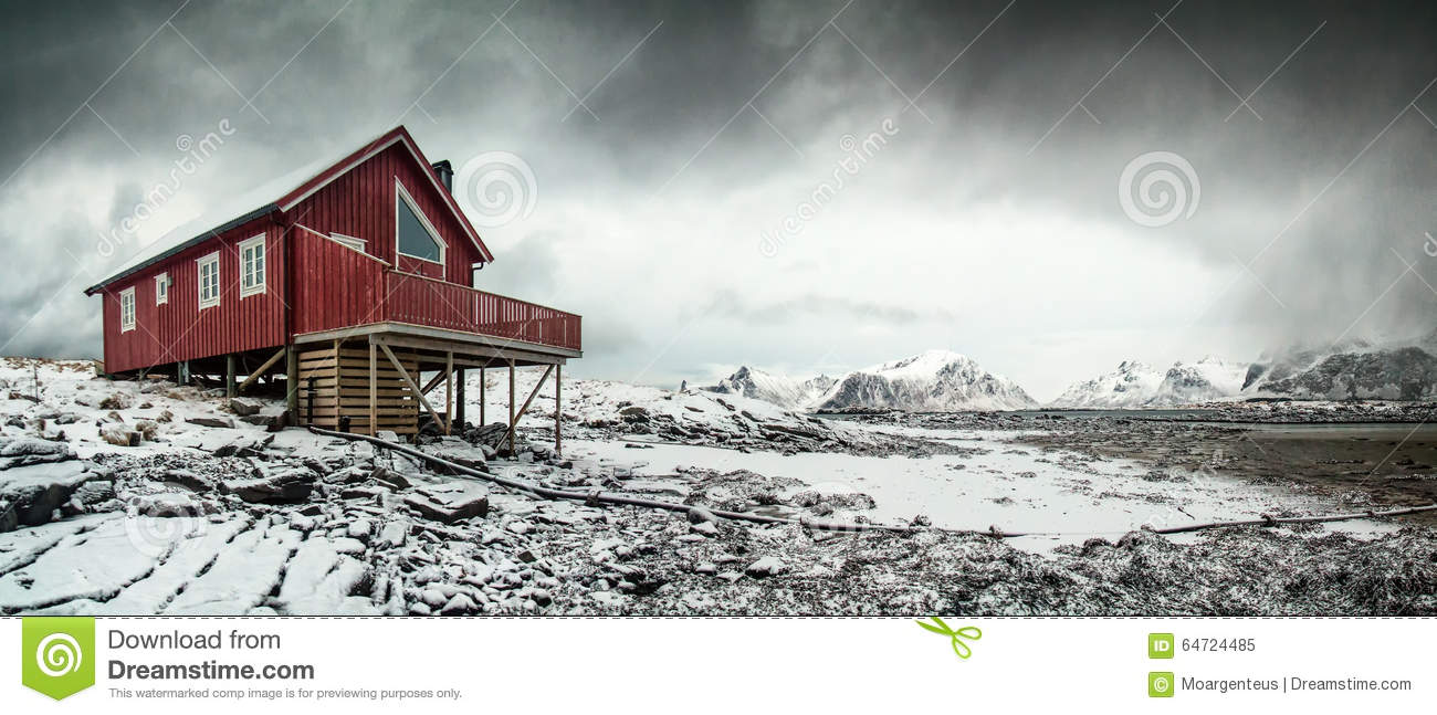 Lonely red wooden house in the arctic stock photo for Iceland lonely house