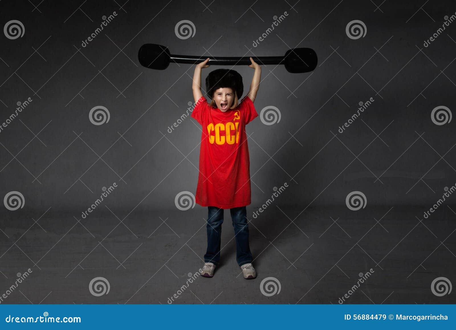 Sollevamento di pesi russo dell atleta