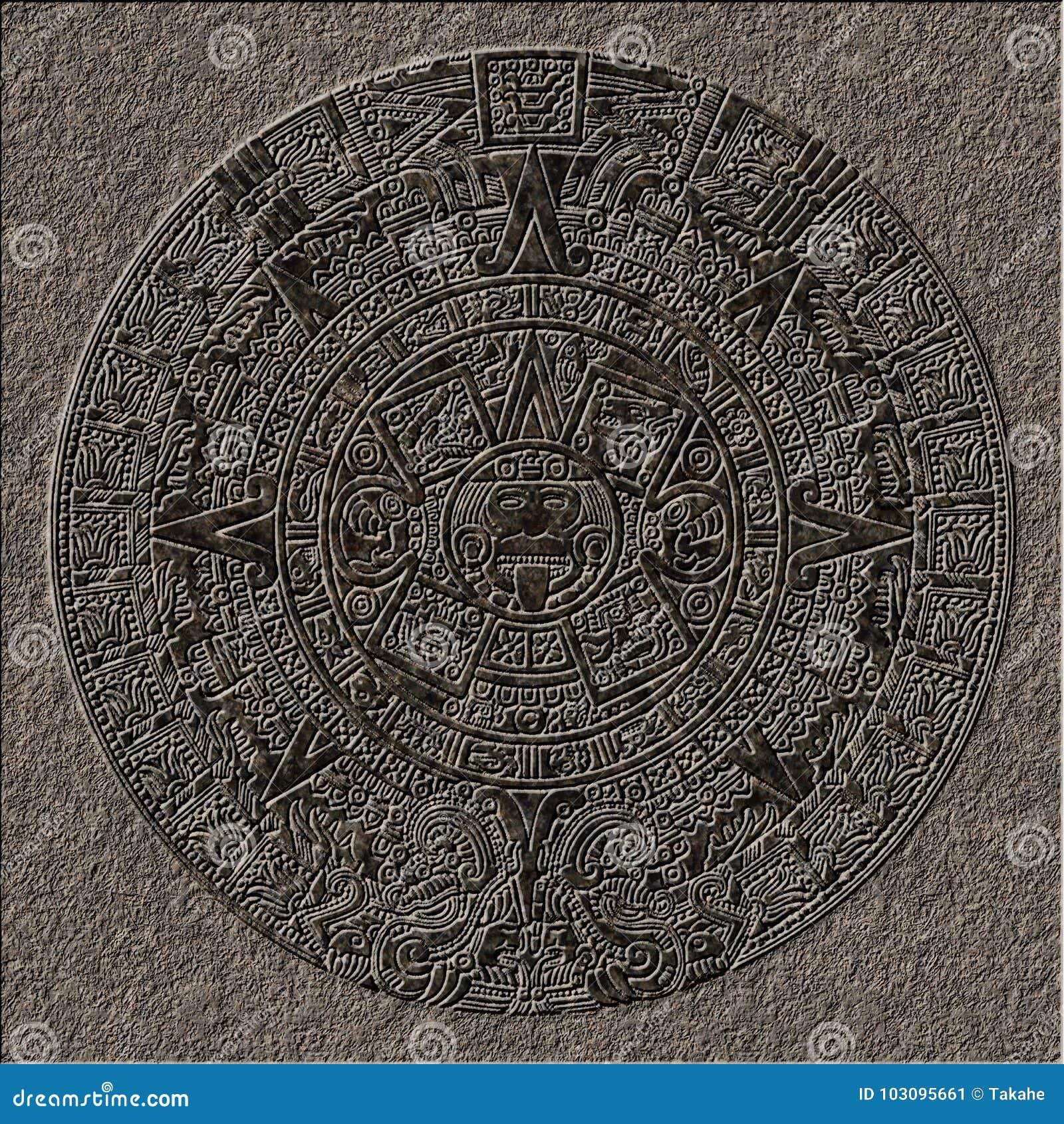 Sollievo maya del calendario cesellato in granito