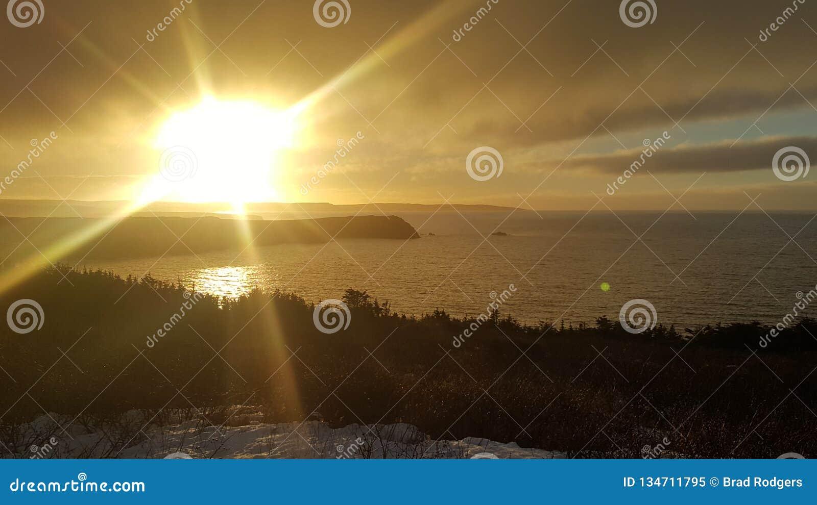 Solnedgång över banken av Newfoundland
