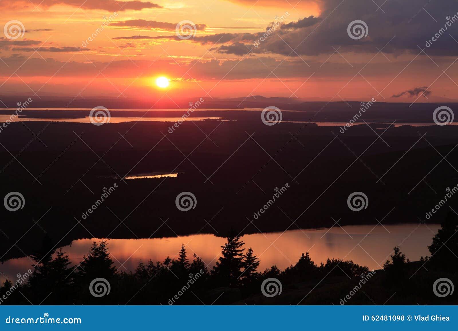 Solnedgång över Eagle Lake, Acadianationalpark