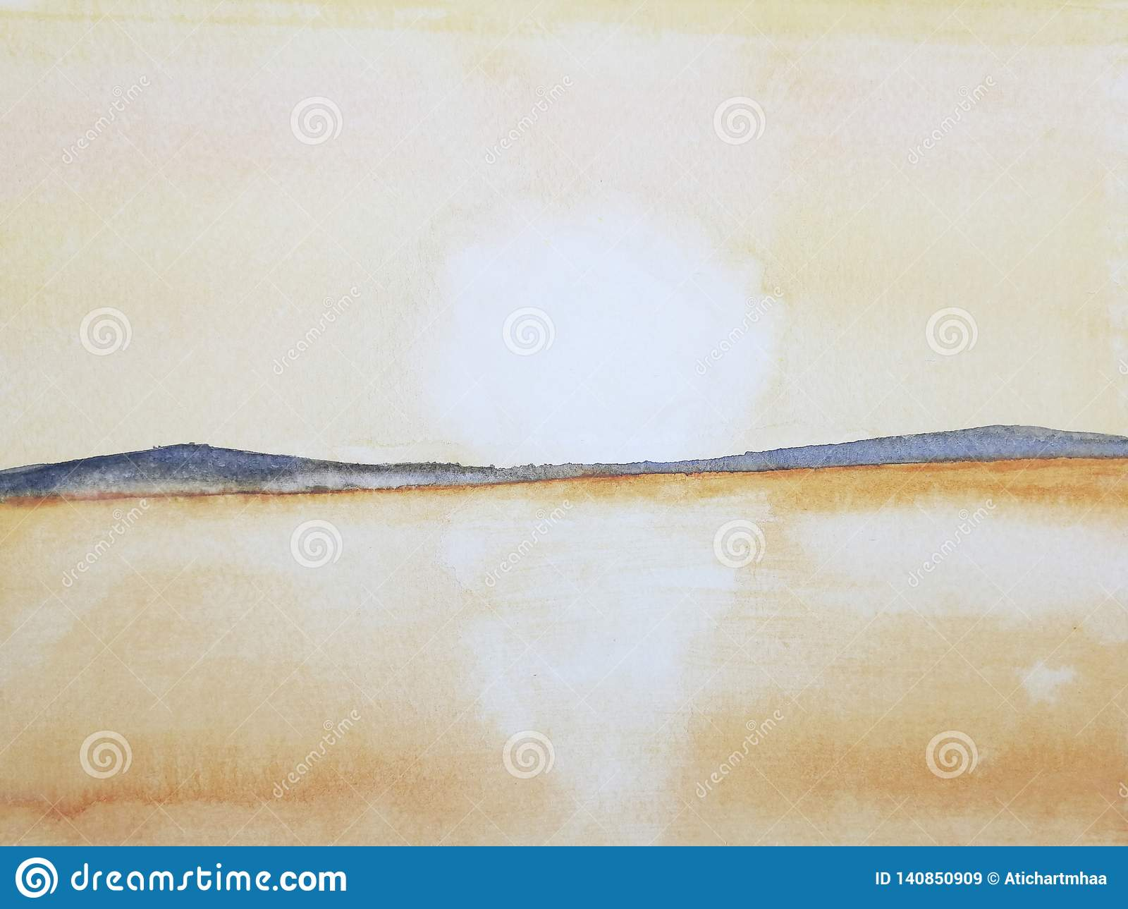 Solnedgång eller soluppgång för hav för vattenfärgmålninglandskap på bergön