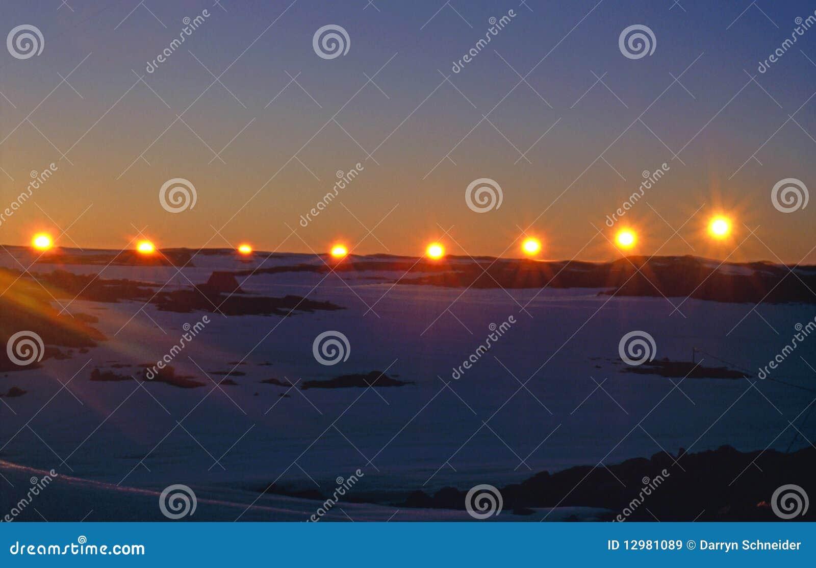 Solnedgång för sommar för solstice för antarcticcirkel