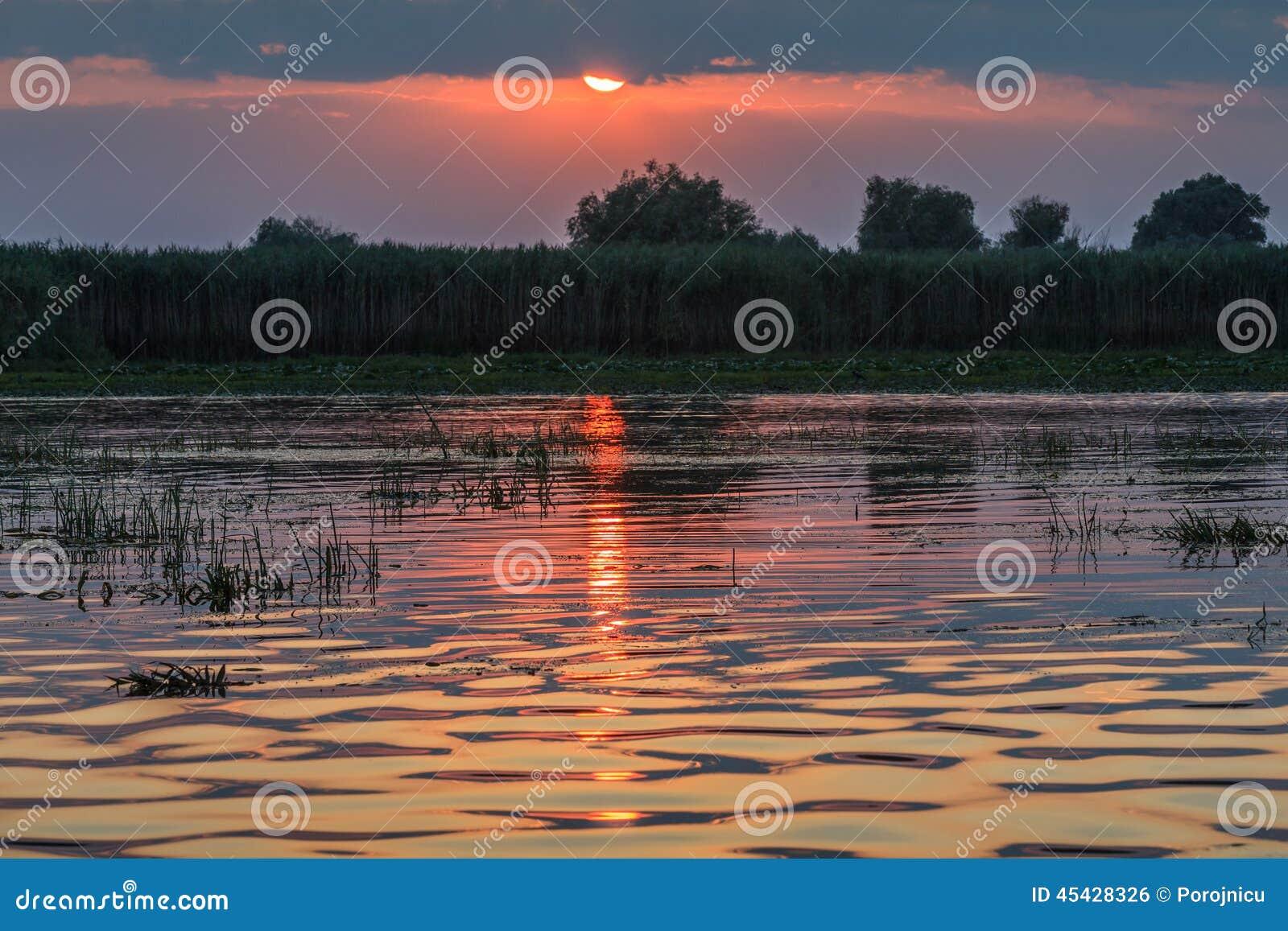 Solnedgång i Donaudeltan