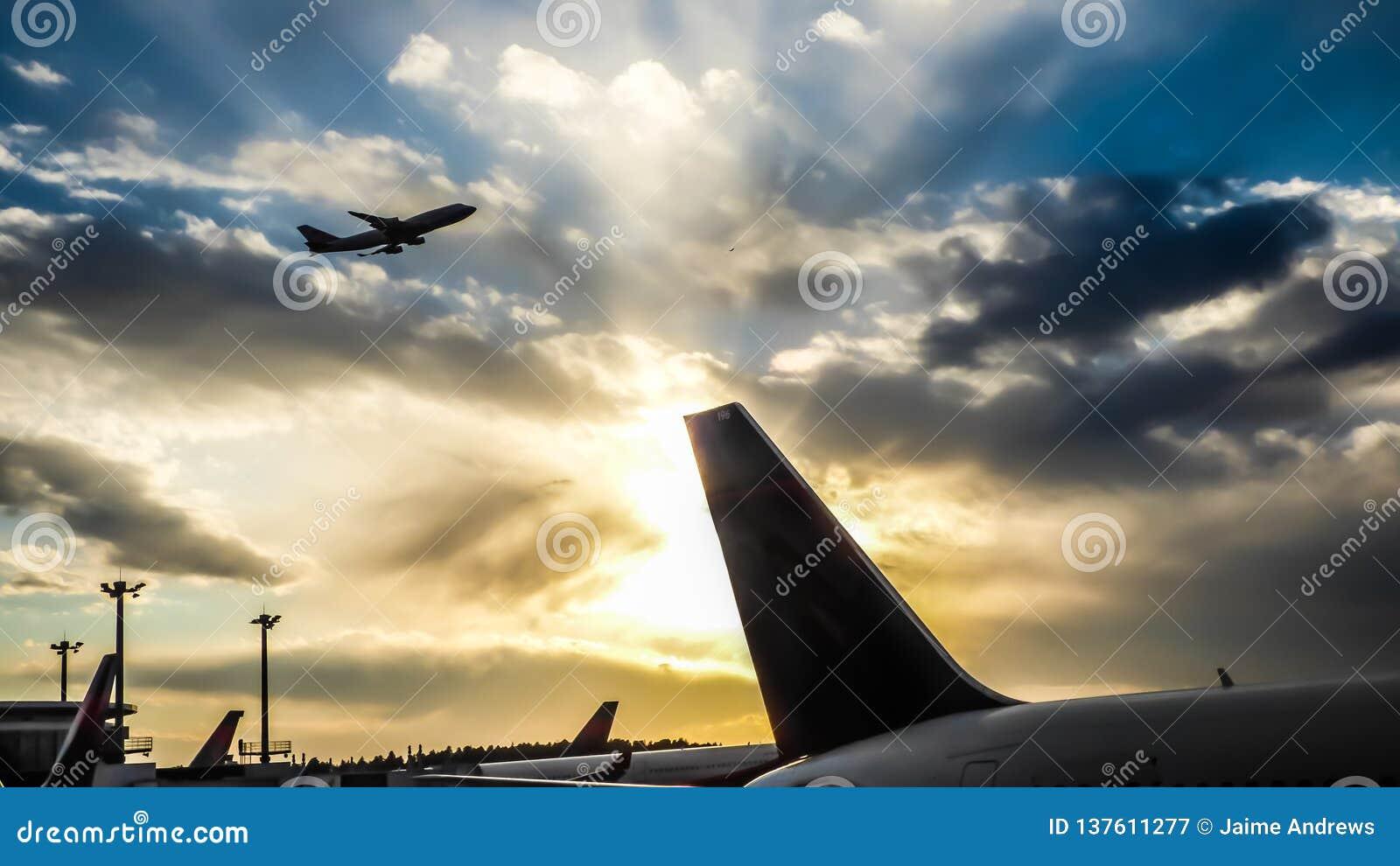 Solnedgång i flygplatsen med en svans och en flygplanstart