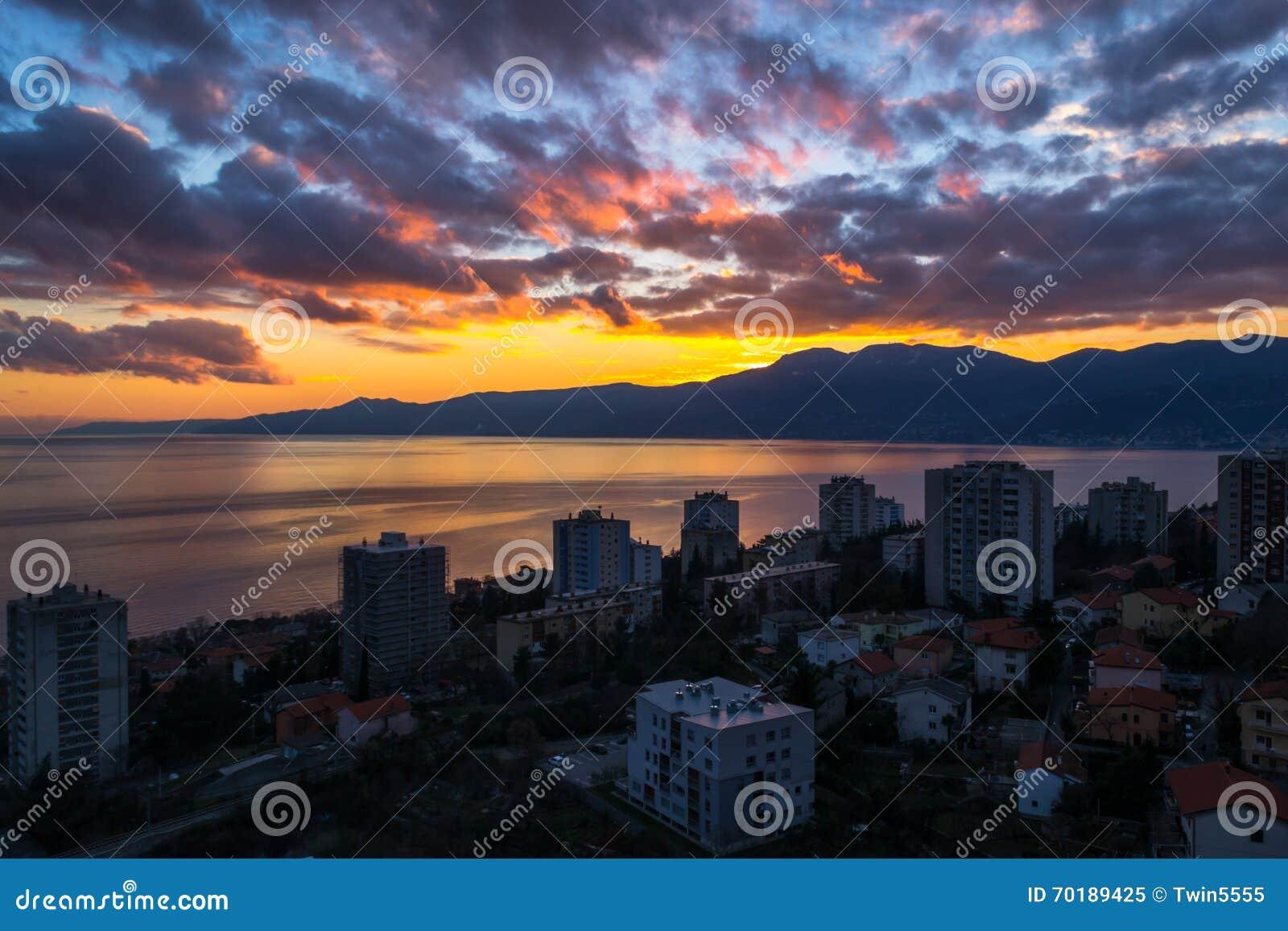 Solnedgång i Rijeka