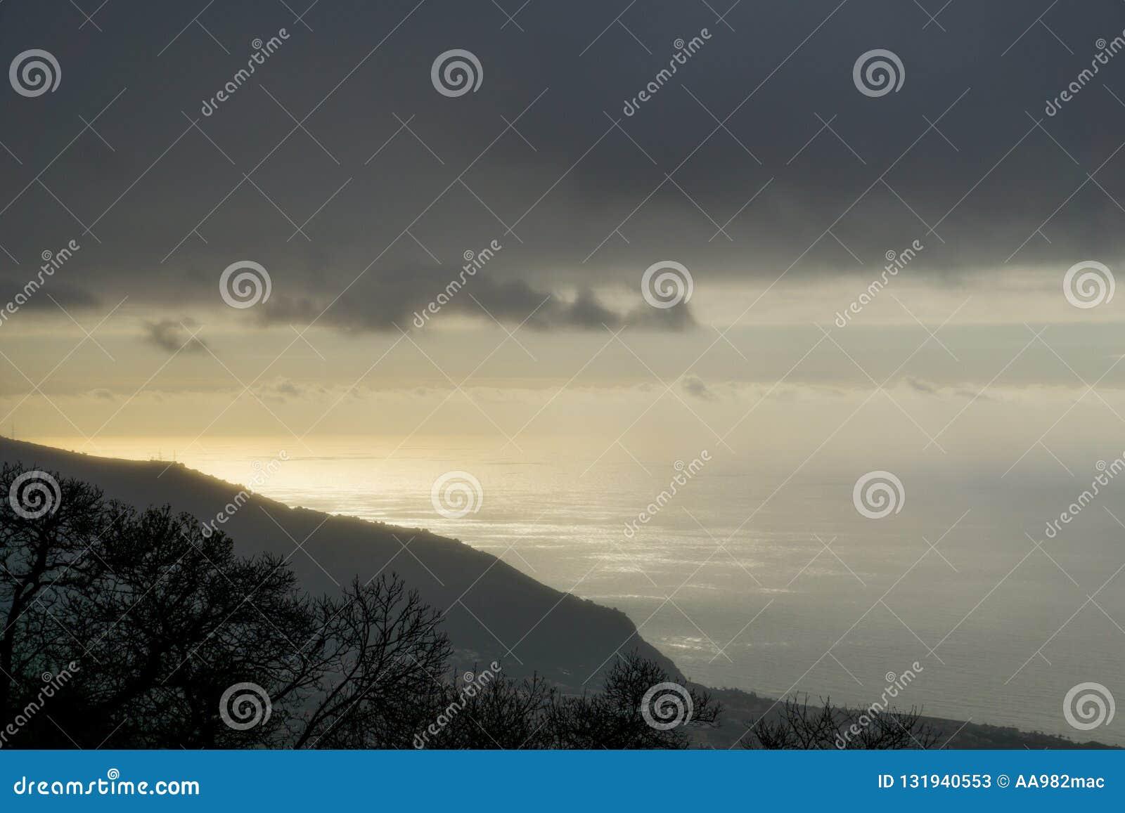 Solnedgång med blandat väder