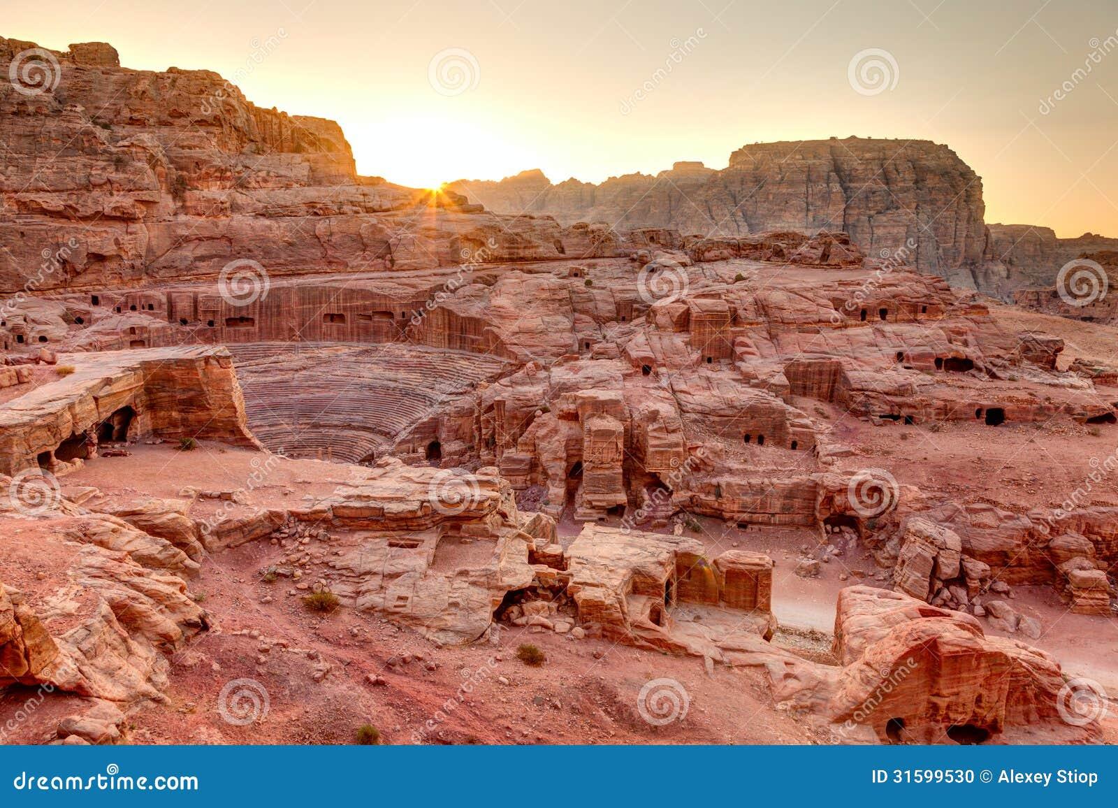 Solnedgång på Petra
