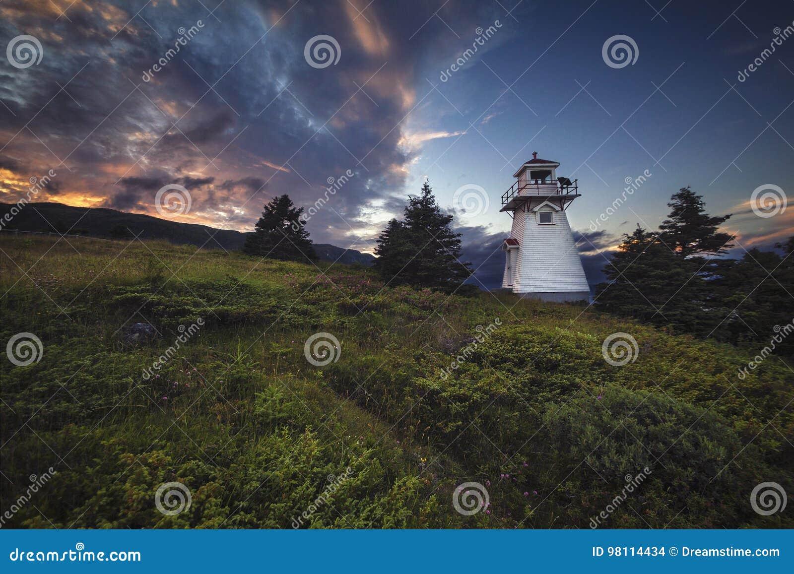 Solnedgång, Woody Point, Gros Morne National Park, Newfoundland & L