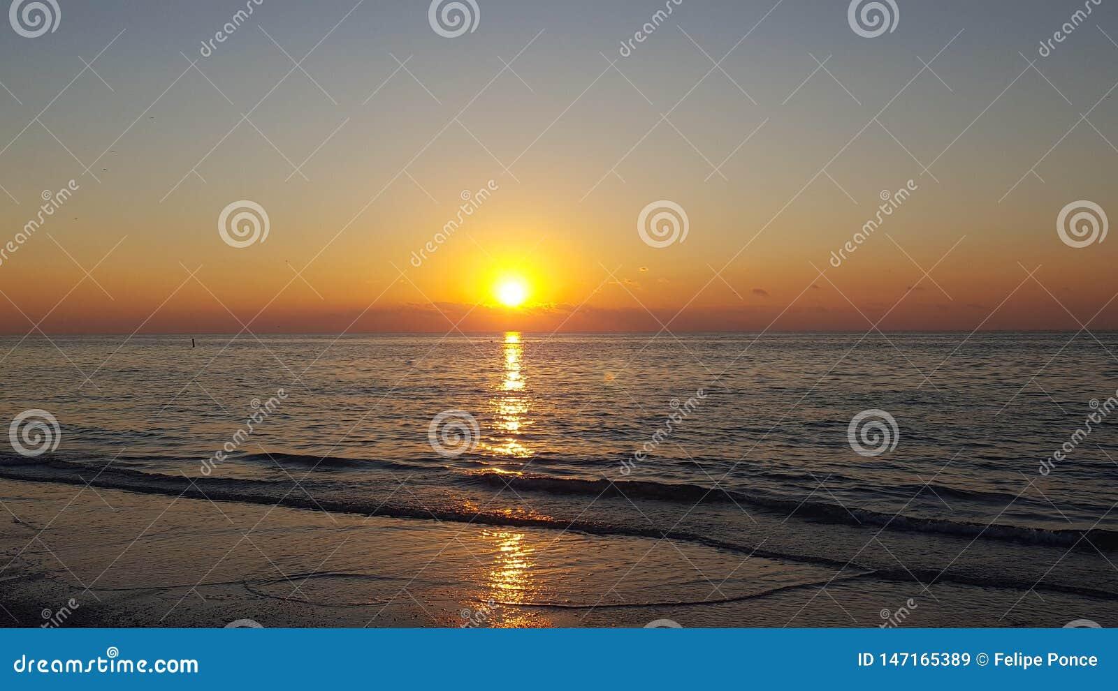 Solnedg?ng p? stranden Florida Indiskt vaggar