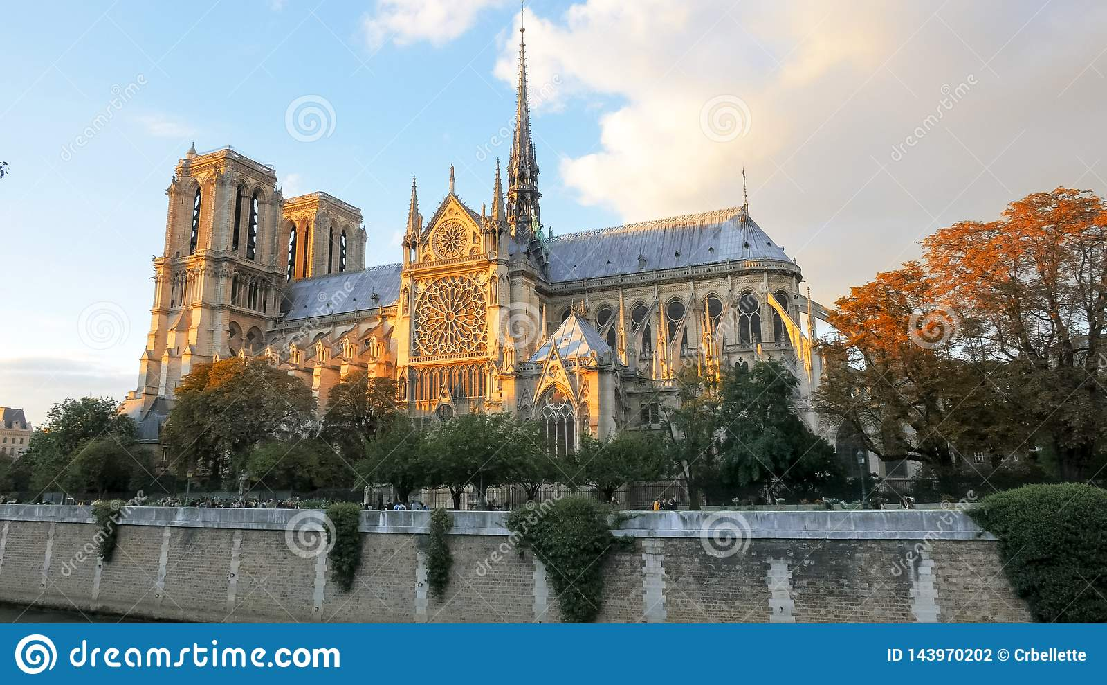 Solnedg?ngsikt av den Notre Dame domkyrkan i paris
