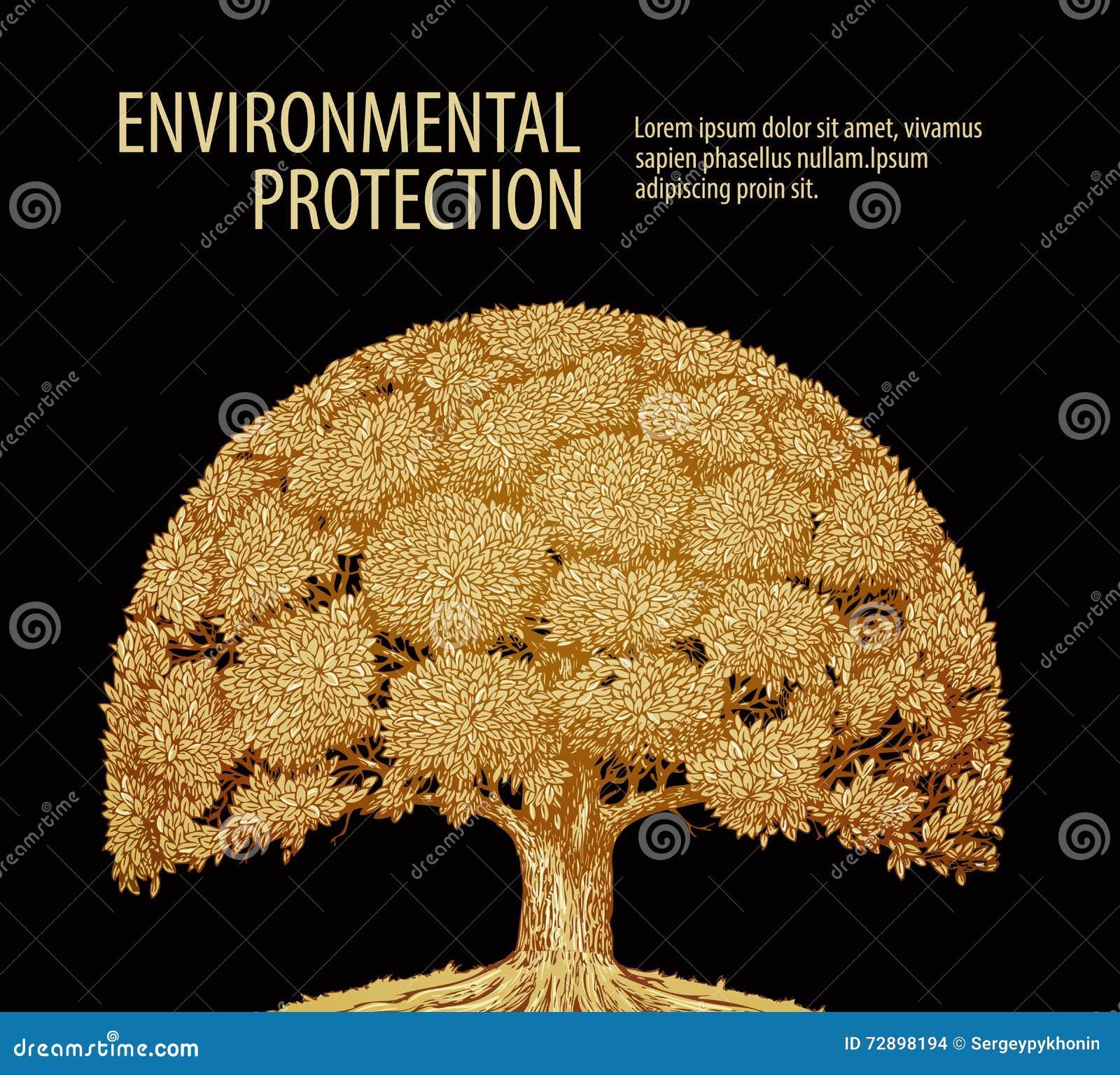 Solo árbol del vintage con follaje denso Naturaleza o ecología de la bandera de la plantilla del diseño del vector