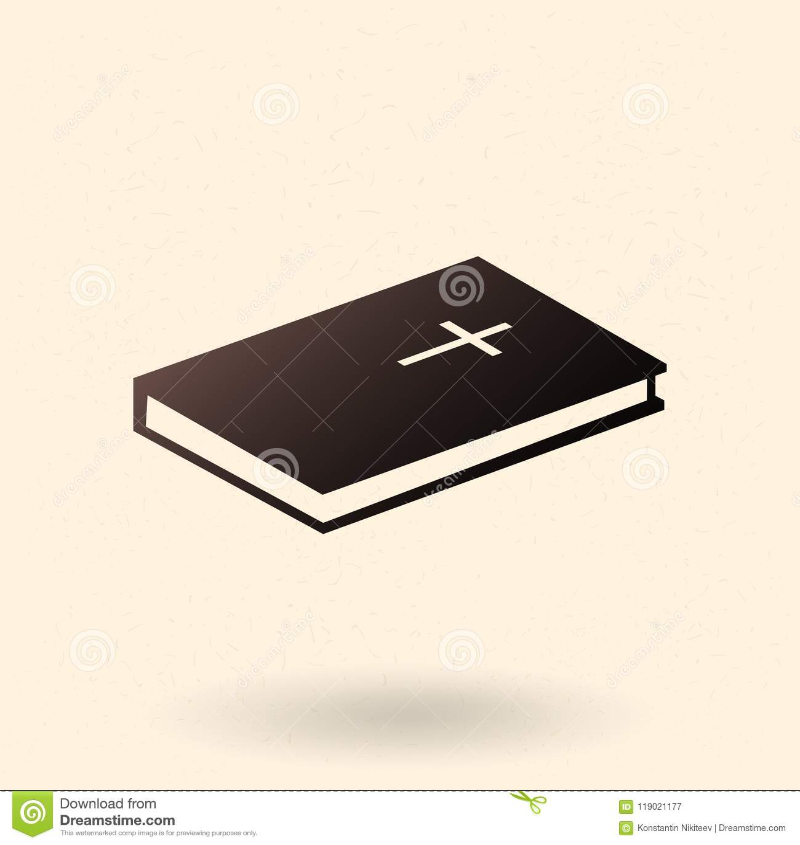 Solo icono de la Sagrada Biblia del vector Christian Book Pictogram