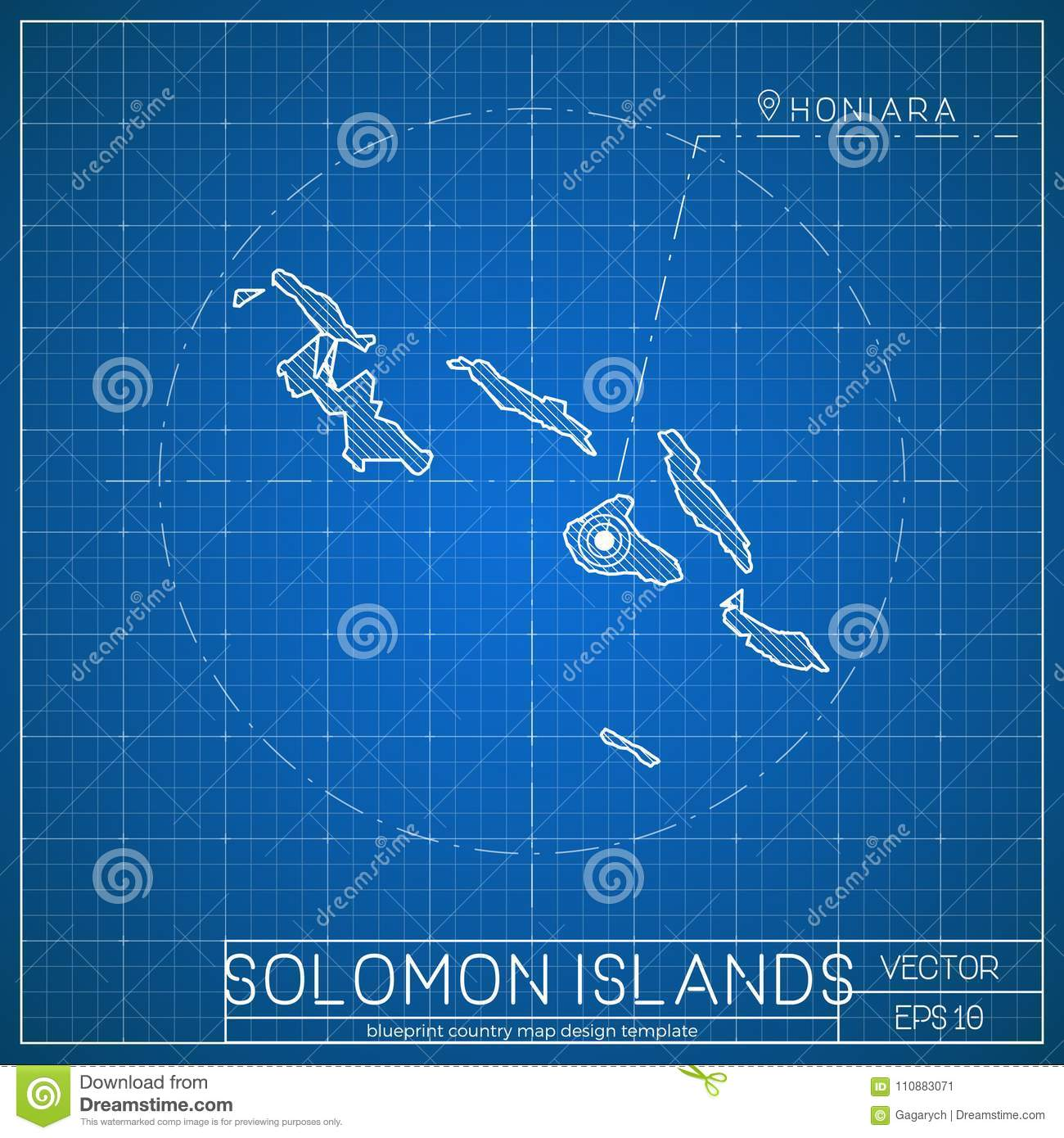 Solomon Islands Blueprint Map Template With  Stock Vector