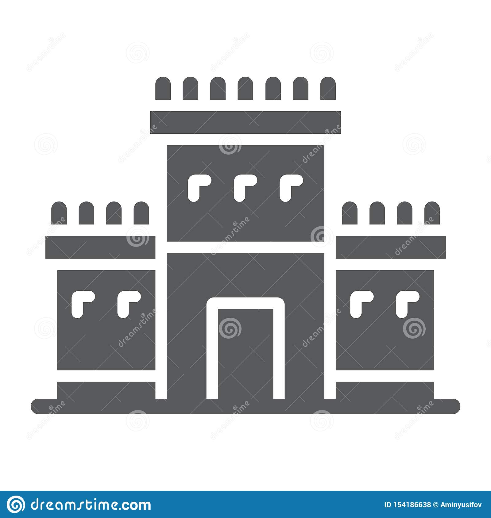 Solomon temple in jerusalem glyph icon, religion and hebrew, jewish tabernacle sign, vector graphics, a solid pattern on