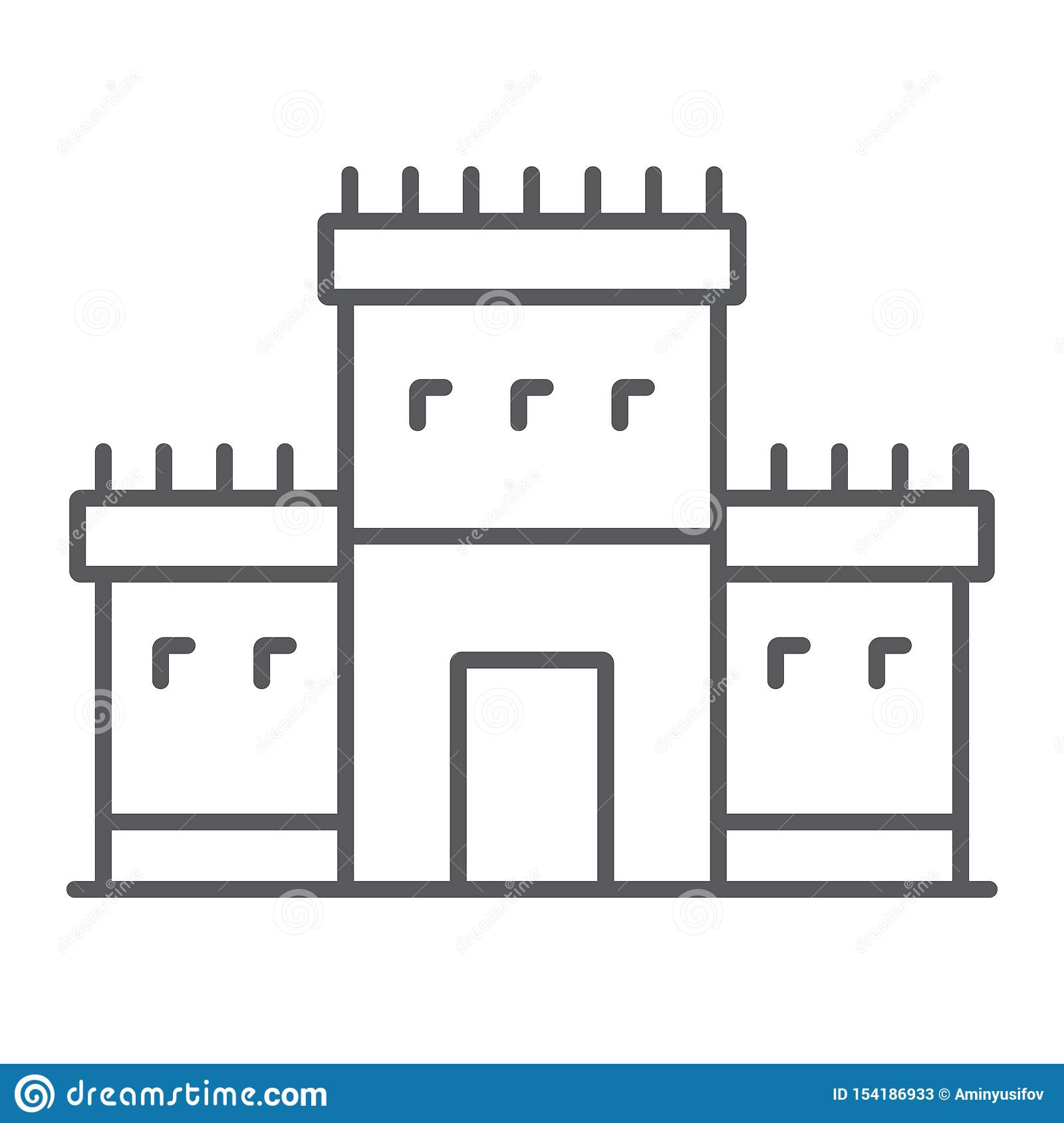 Solomon temple in jerusalem thin line icon, religion and hebrew, jewish tabernacle sign, vector graphics, a linear