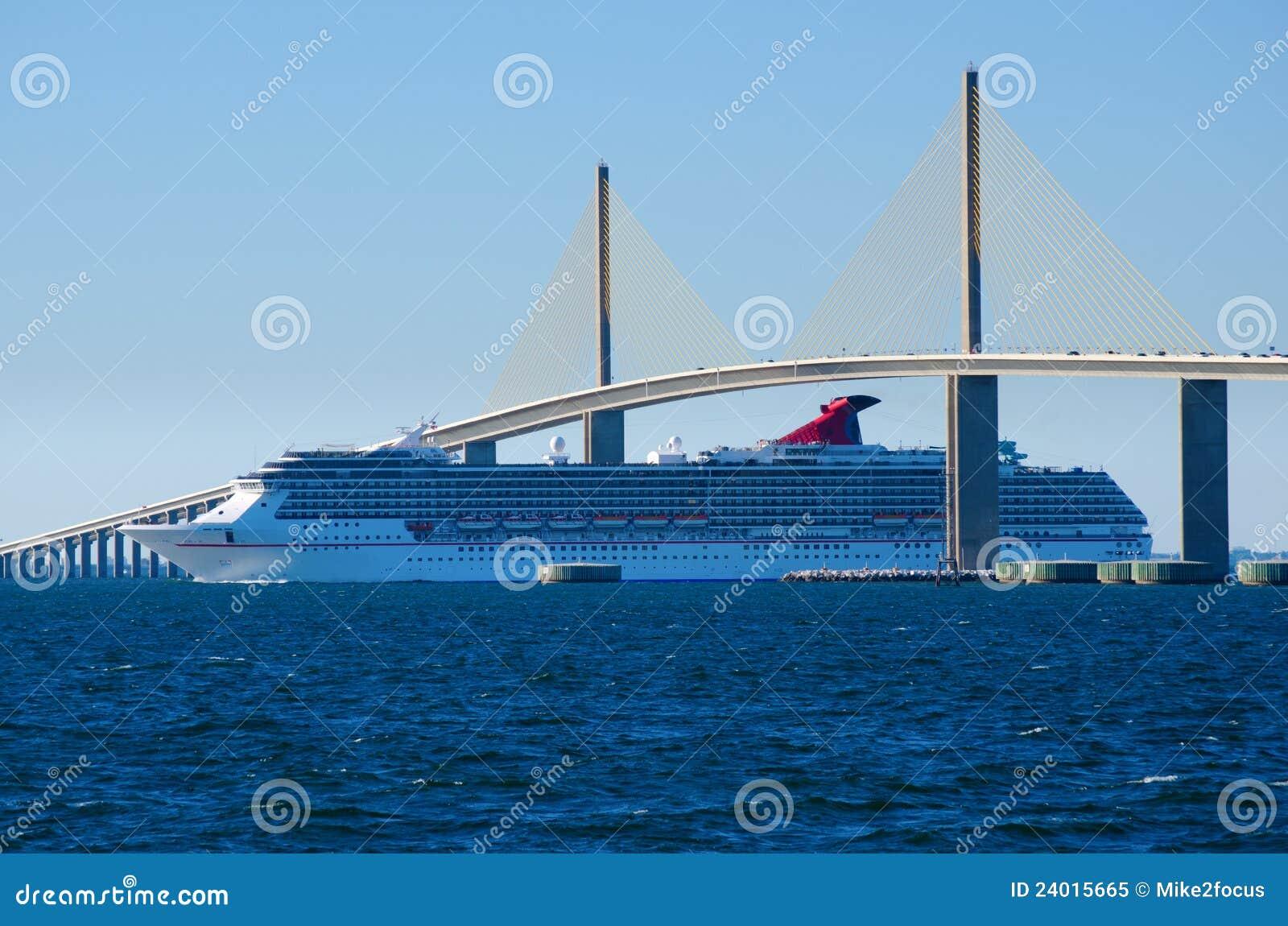 Solsken för ship för brokryssning gående skyway under