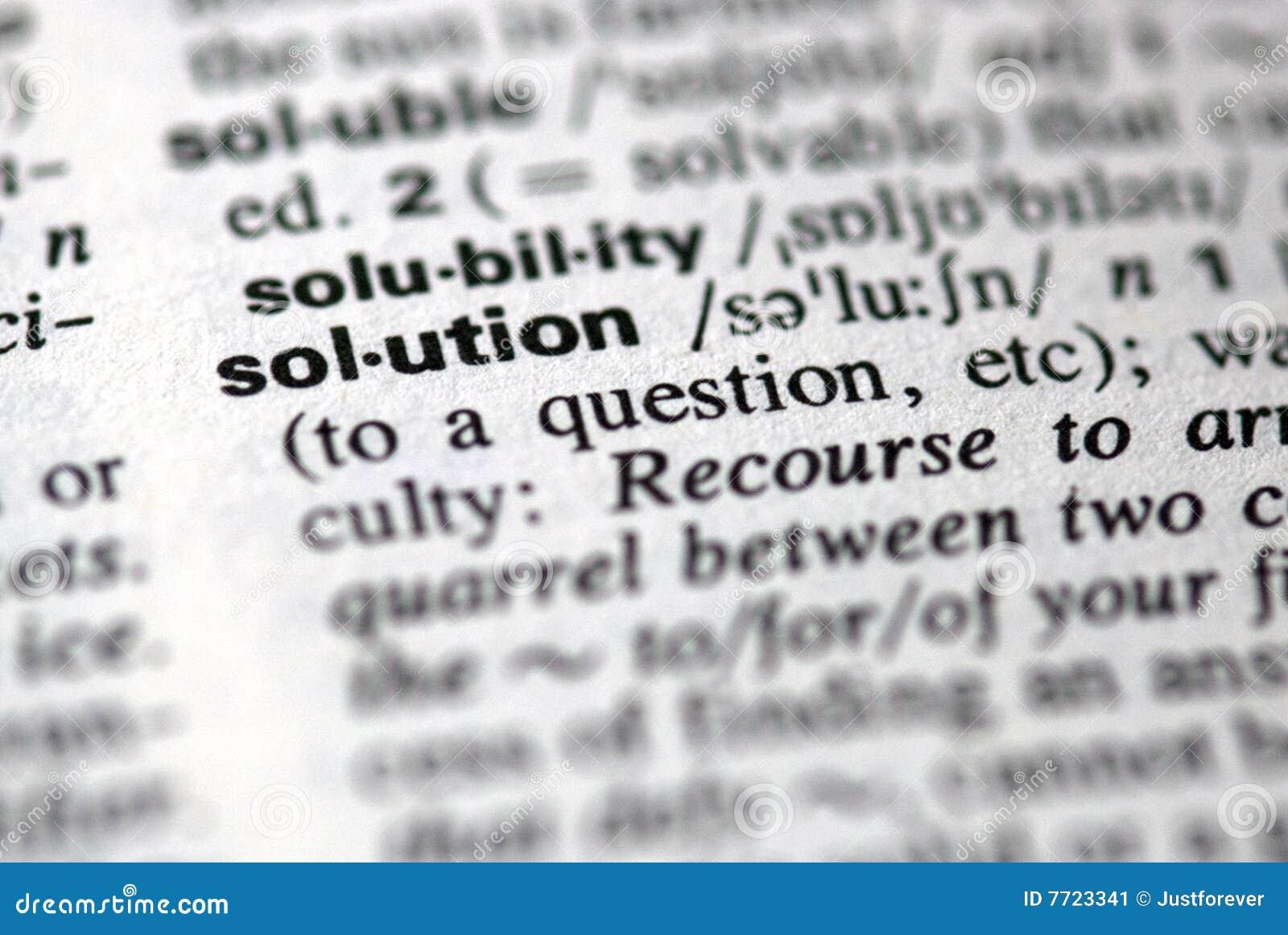 A solução da palavra em um dicionário