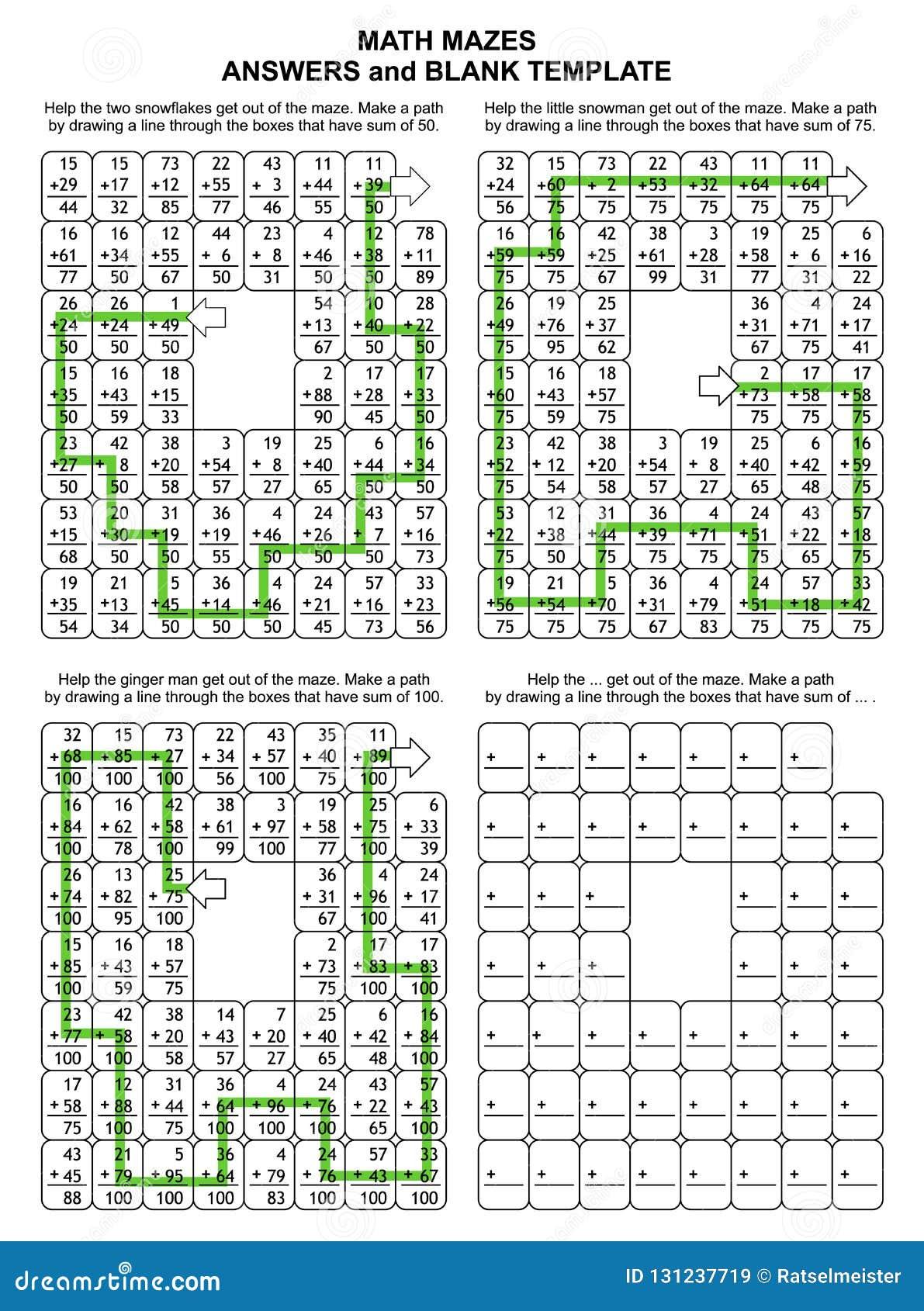 Soluciones para los 3 laberintos anteriores de la matemáticas Plantillas para los nuevos rompecabezas
