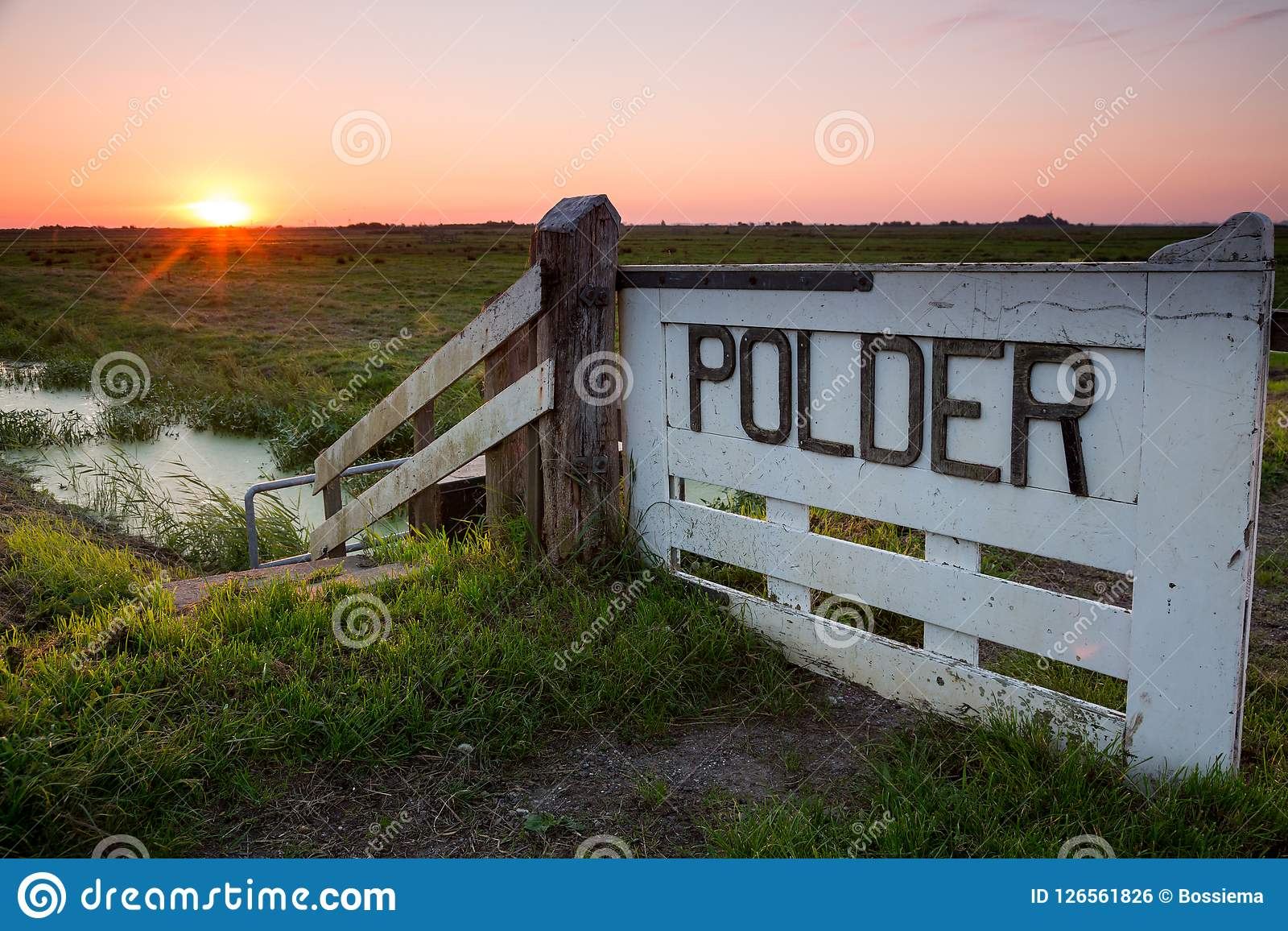 Soluppgång över en holländsk polder