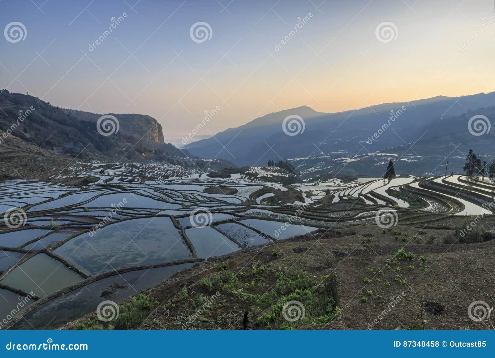 Soluppgång över YuanYang ris terrasserar i Yunnan, Kina, en av de senaste UNESCOvärldsarven