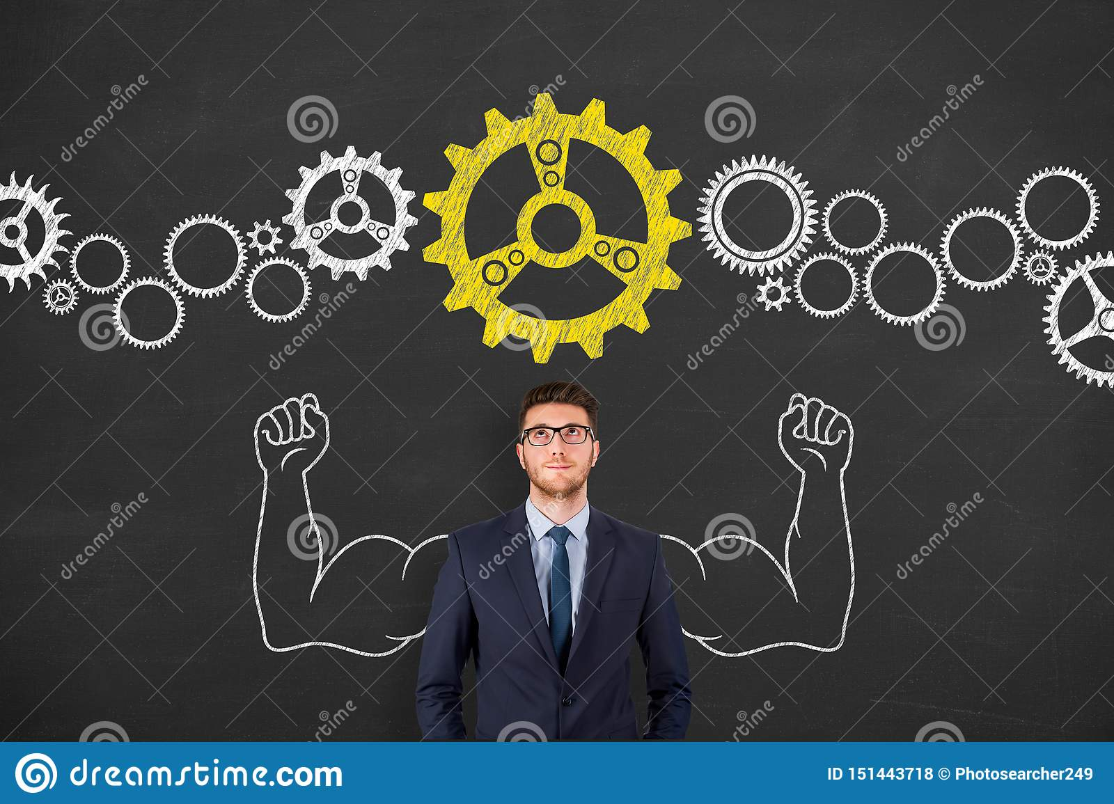 Solution Concepts with Gears on Chalkboard Background