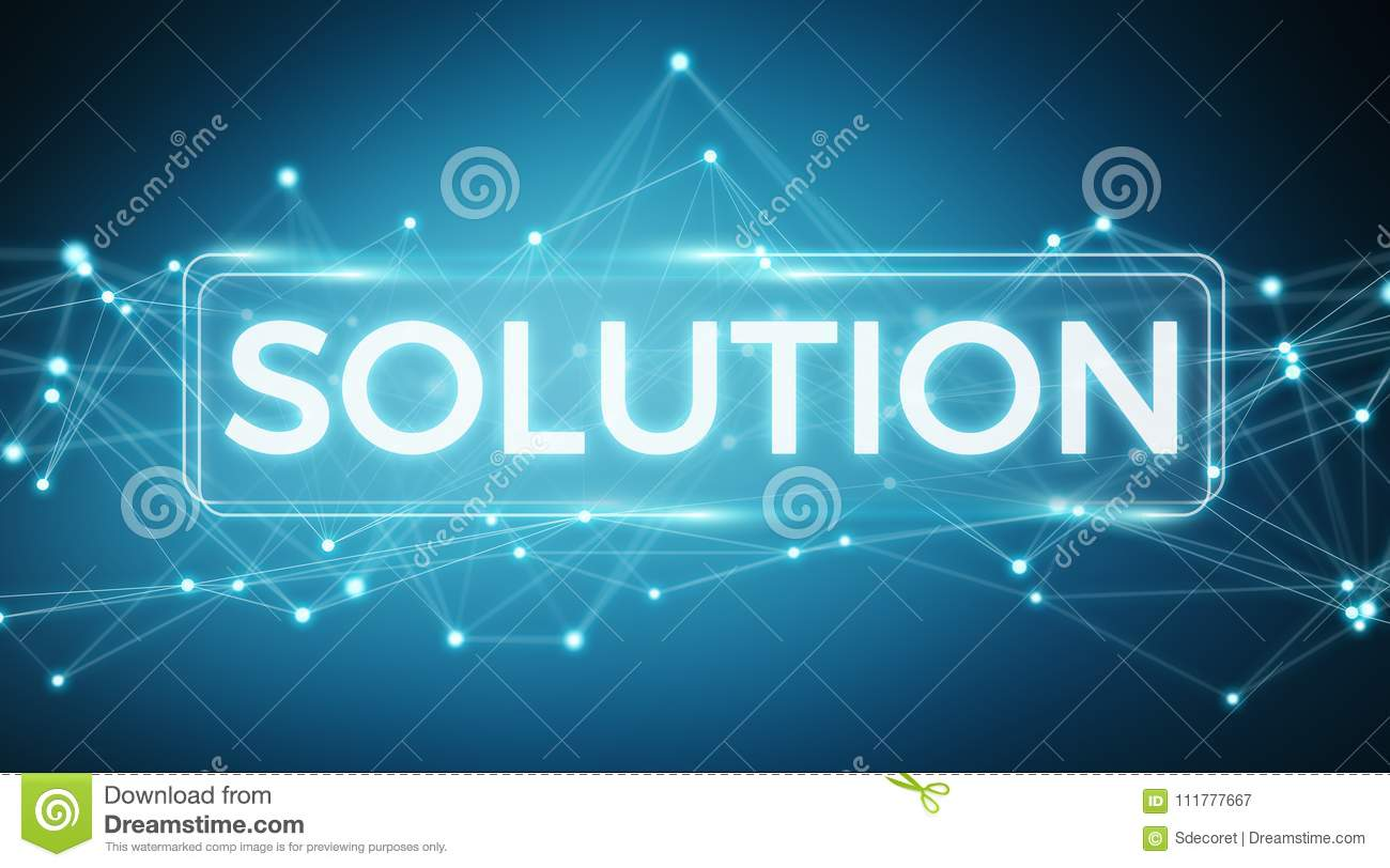 Solution digital text interface 3D rendering