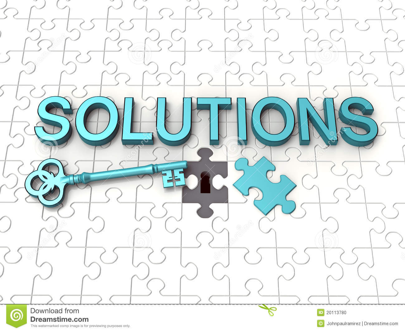 Solutions Text, Key, Jigsaw Puzzle Stock Photo - Image ...