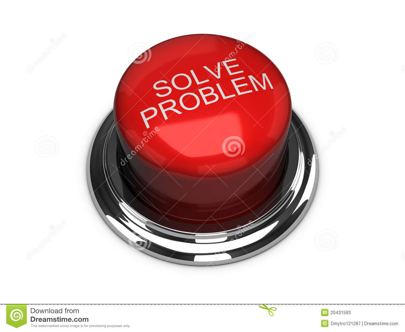 Solve The Problem Button  Isolated On The White Stock