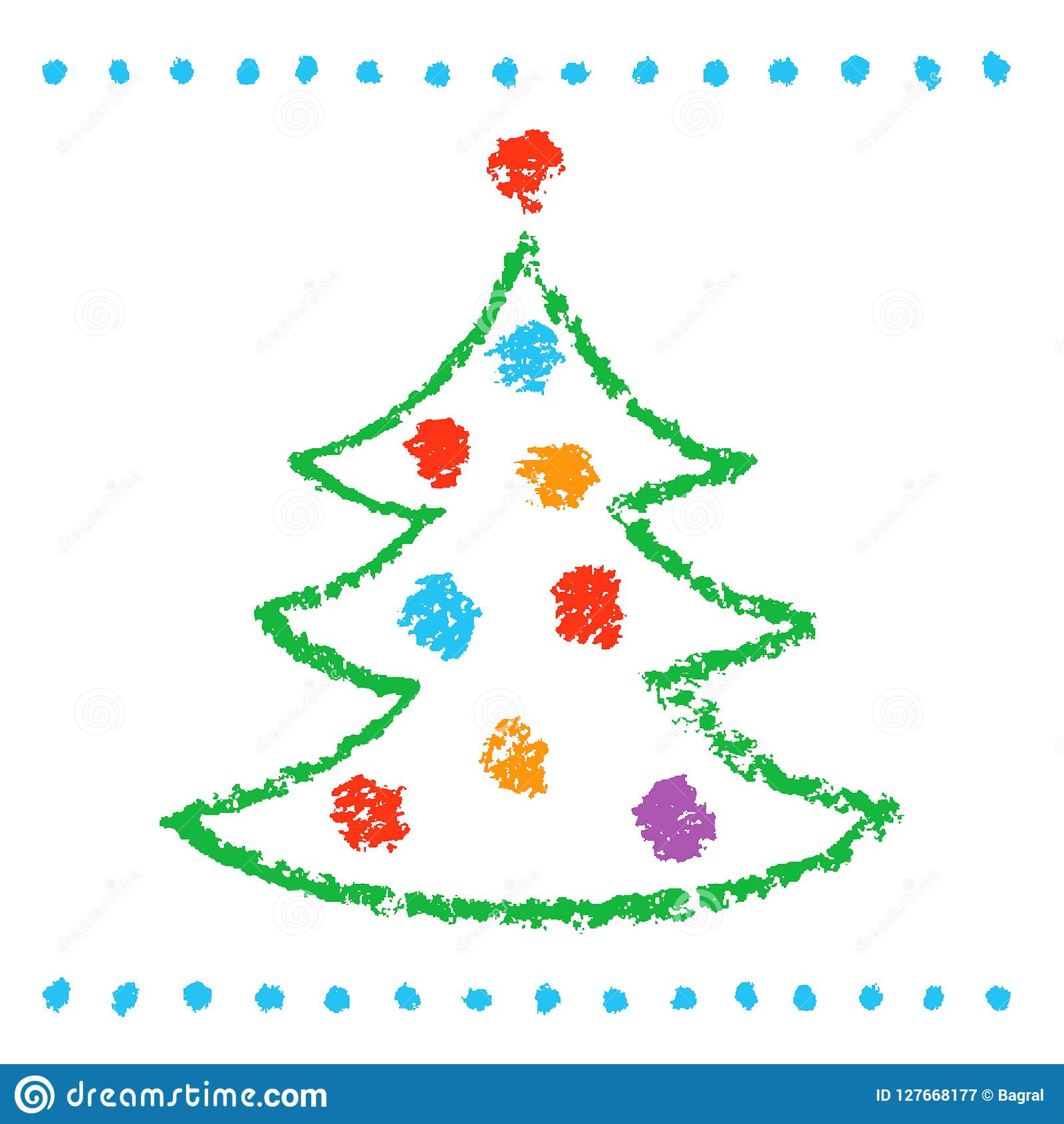 Som childs som drar julträdet på vit Gullig konstnärlig slaglängdstil för roligt enkelt klotter