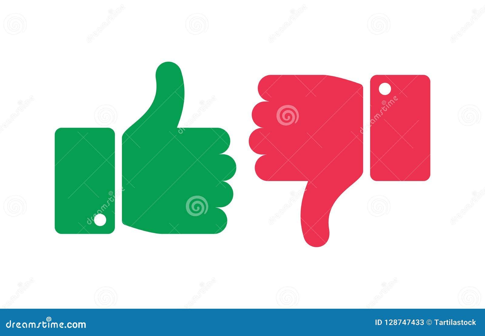 Som olika knappar Tummar uppåt- och neråt isolerade symboler Ja och inga fingrar, positiva symboler för negationfläckvektor