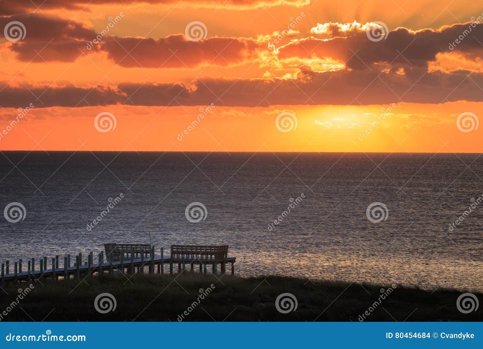Som Salvo North Carolina Outer Banks de Pamlico do por do sol