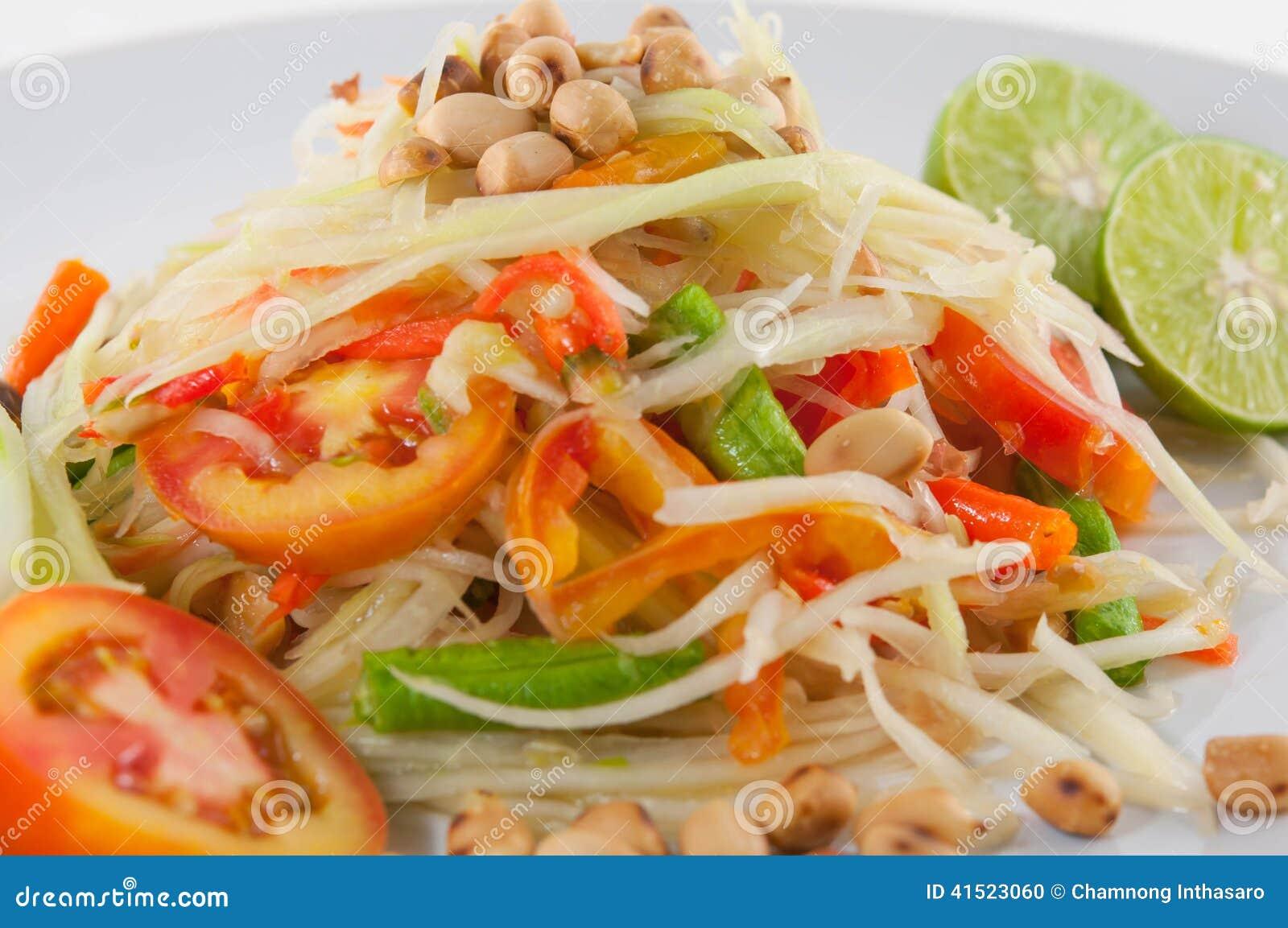 Som Tum Thai Isan Food, Closeup Thai papaya salad serve with vegetables