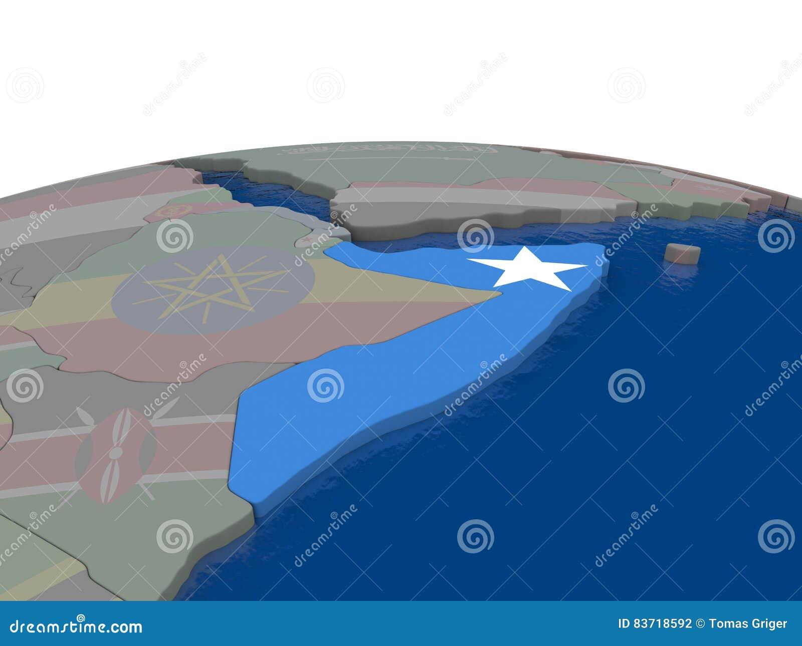 Somalia With Flag Stock Illustration