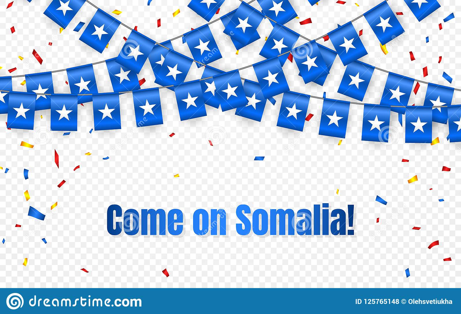 somalia garland flag with confetti on transparent background hang