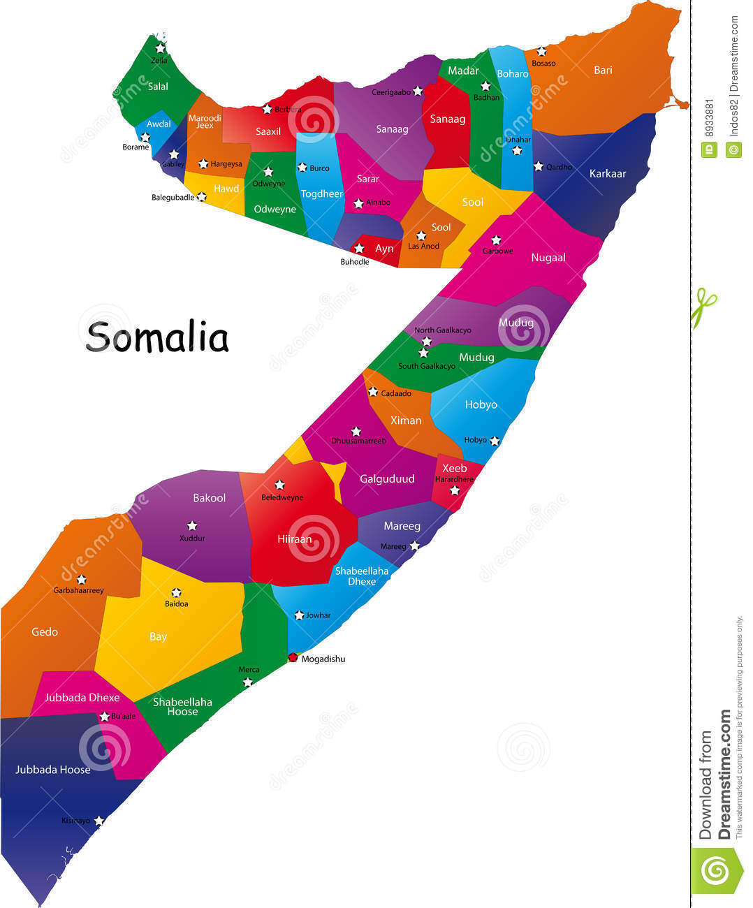 Somalia map stock vector. Illustration of city, country ...