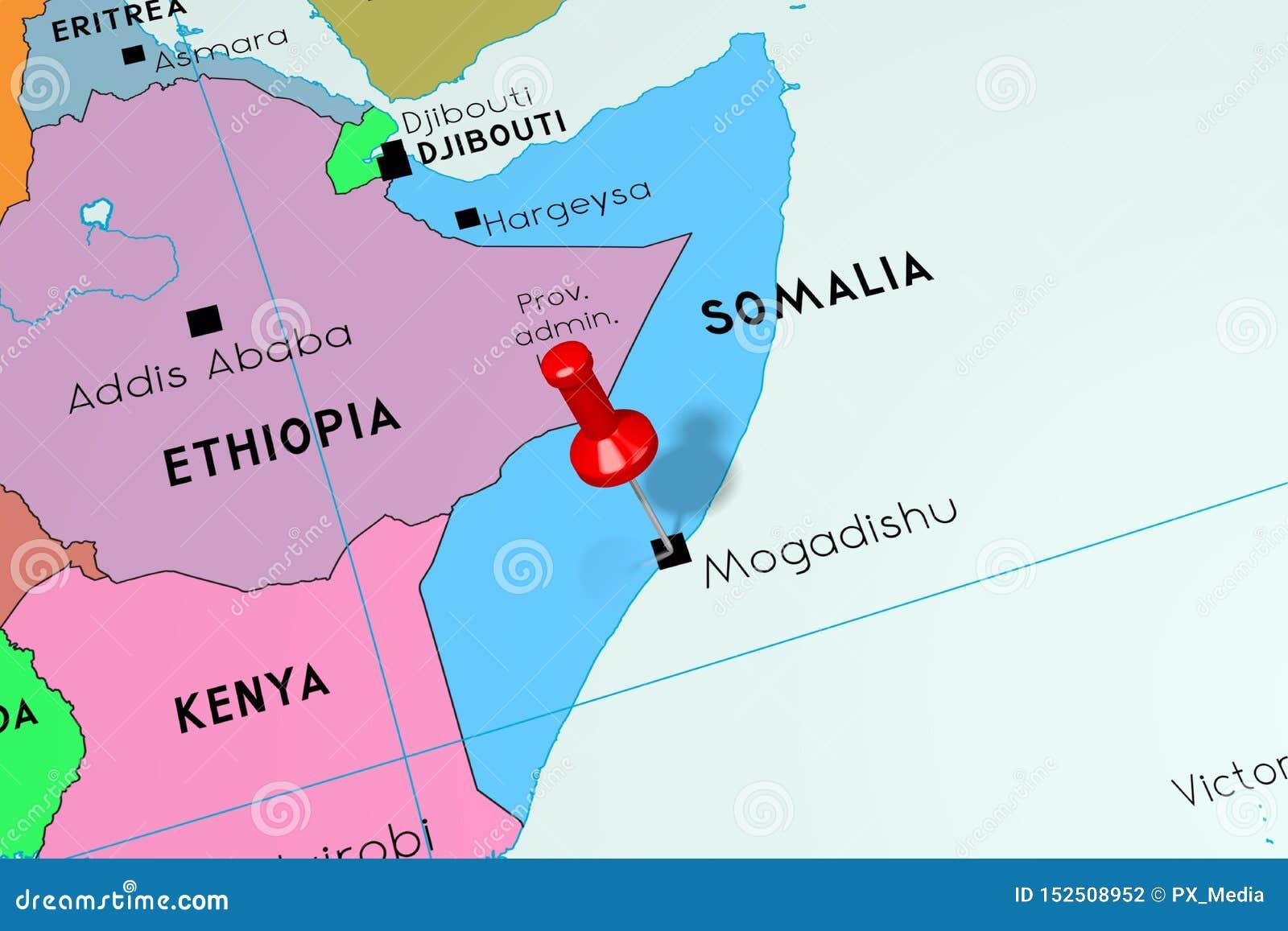 Mogadishu Africa Map.Somalia Mogadishu Capital City Pinned On Political Map