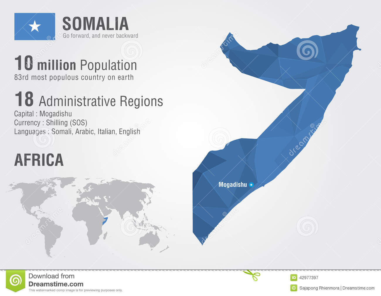 Somalia World Map With A Pixel Diamond Texture Stock Vector